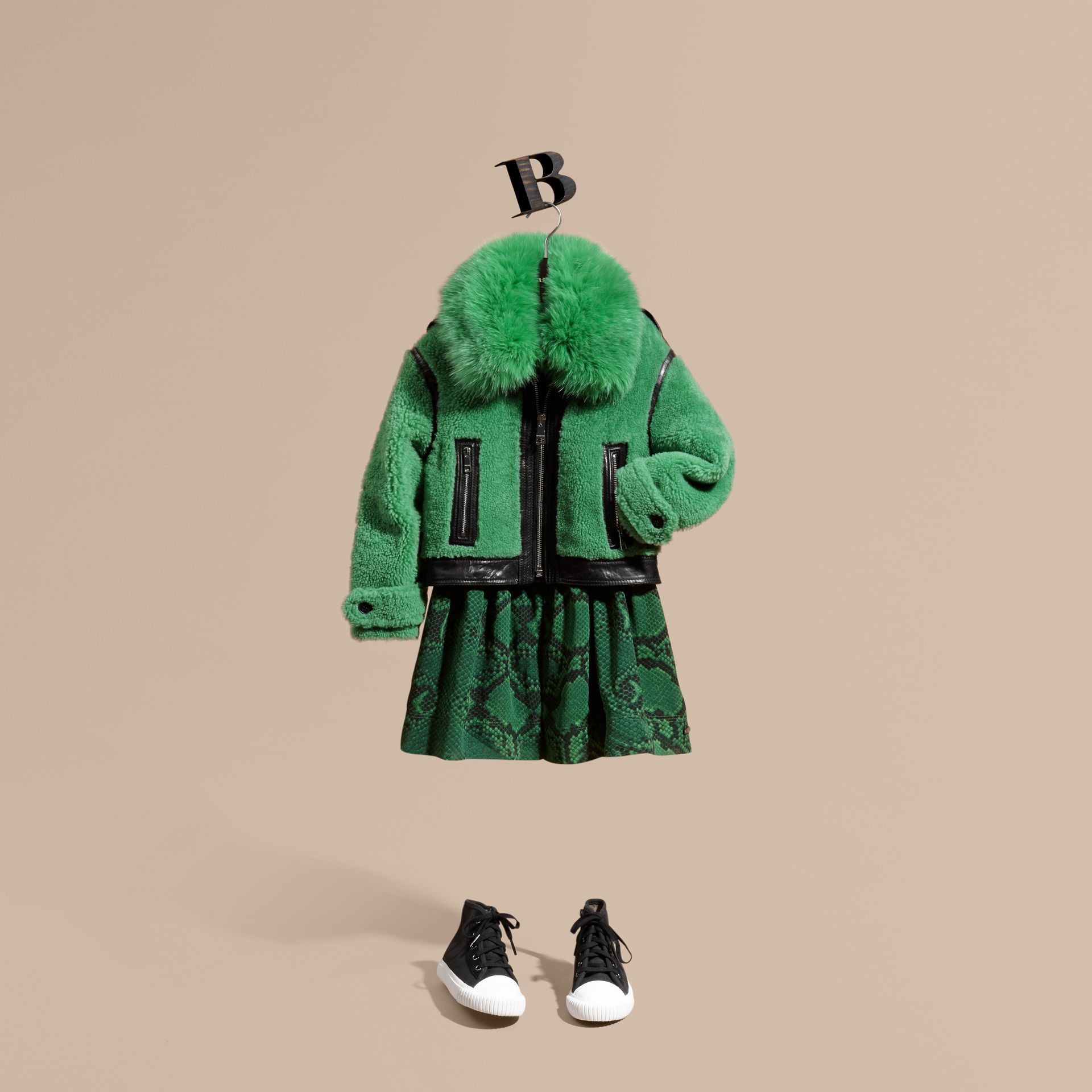 Pigment green Fox-collar Shearling Jacket - gallery image 1