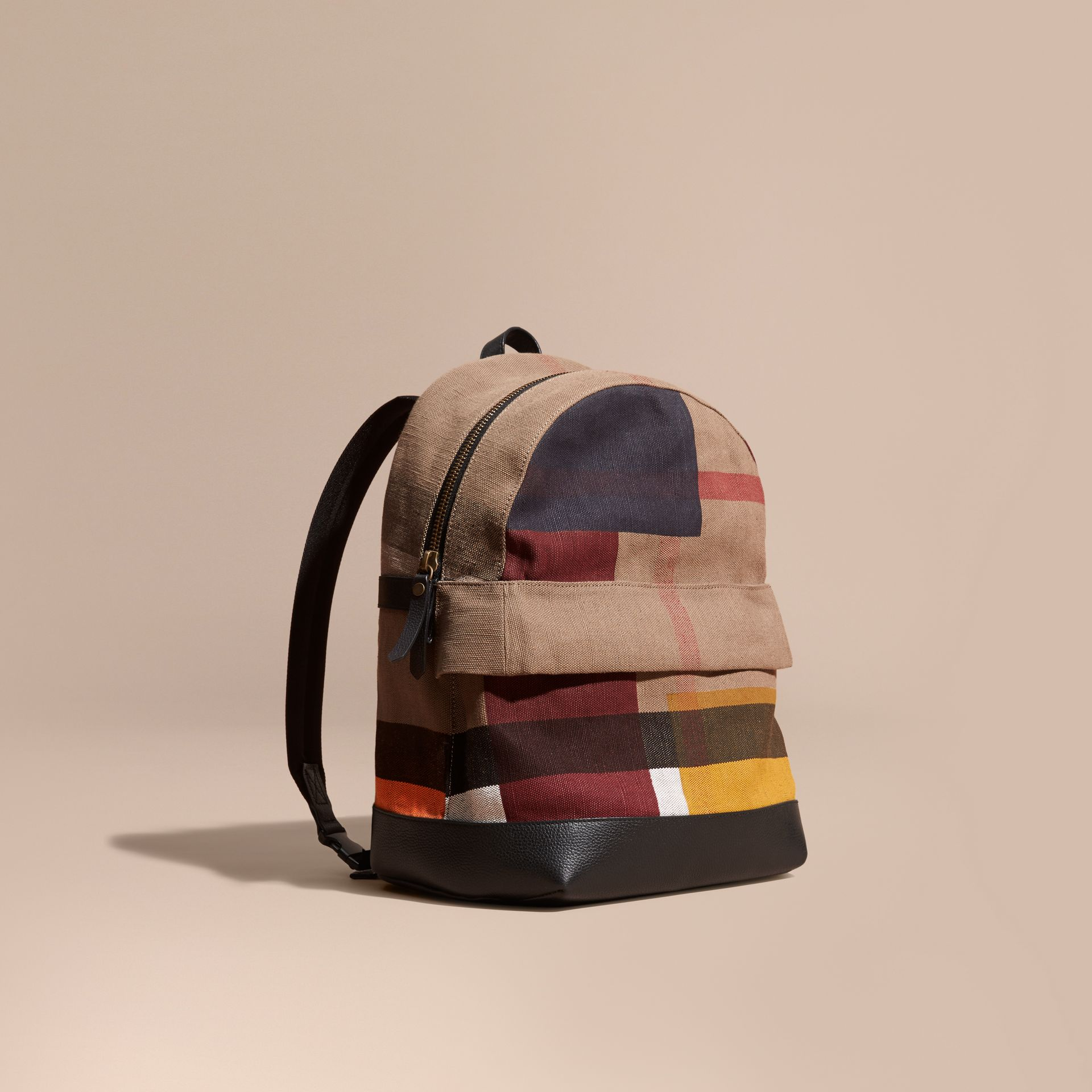 Black Colour Block Canvas Check Backpack - gallery image 1