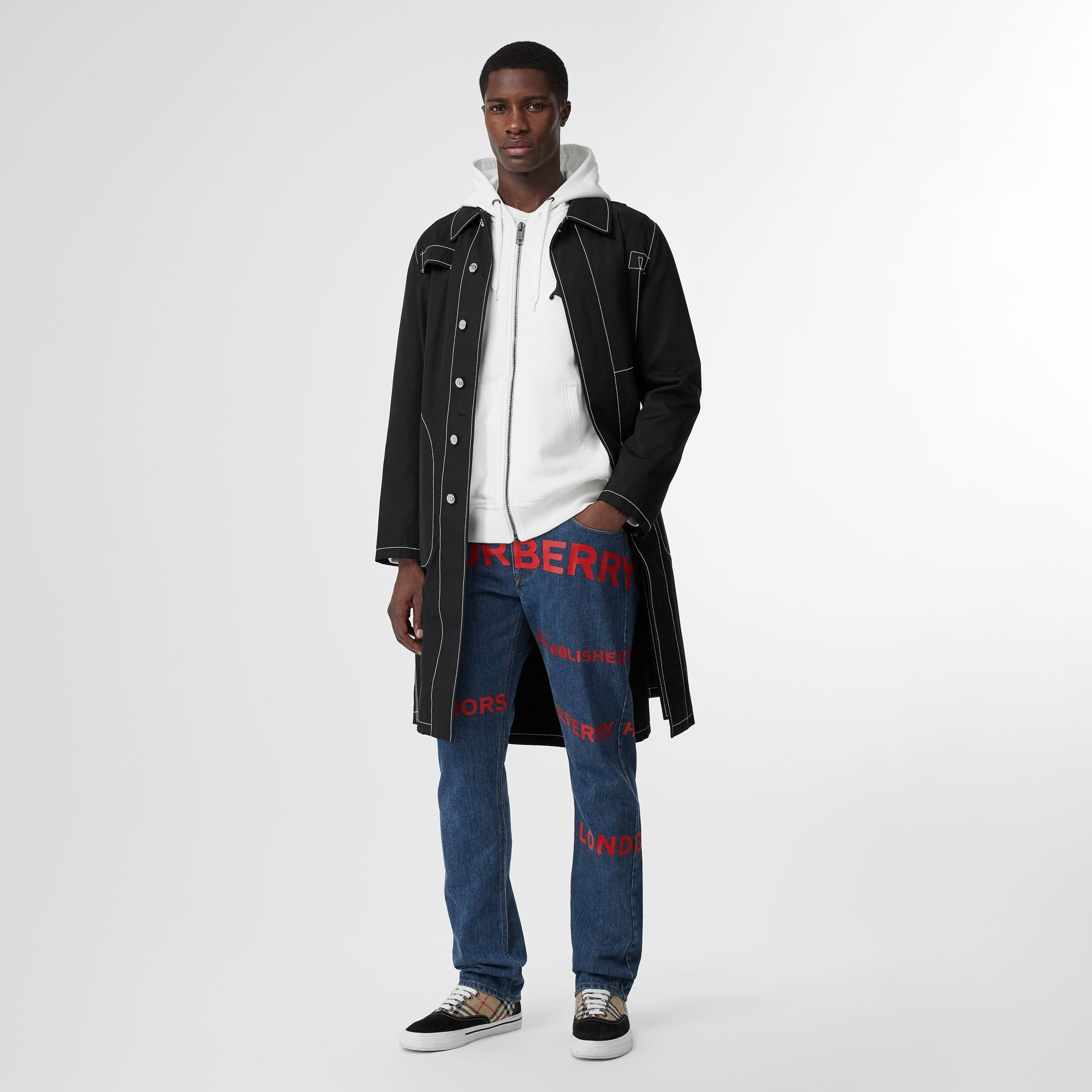 Straight Fit Horseferry Print Japanese Denim Jeans in Mid Indigo Blue - Men | Burberry Australia - gallery image 0