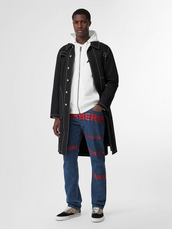 Straight Fit Horseferry Print Japanese Denim Jeans in Mid Indigo Blue
