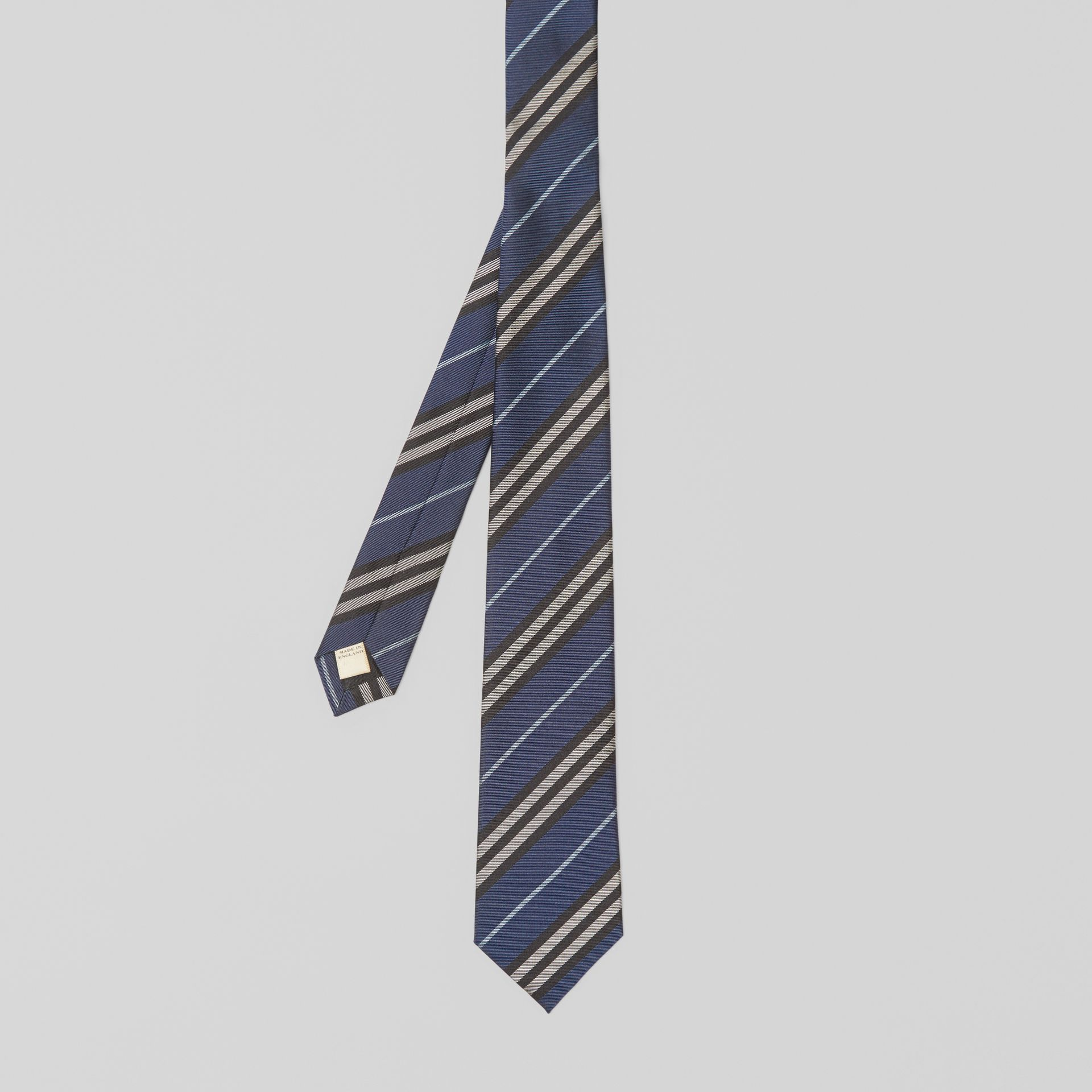 Modern Cut Striped Silk Jacquard Tie in Steel Blue - Men | Burberry Australia - gallery image 4