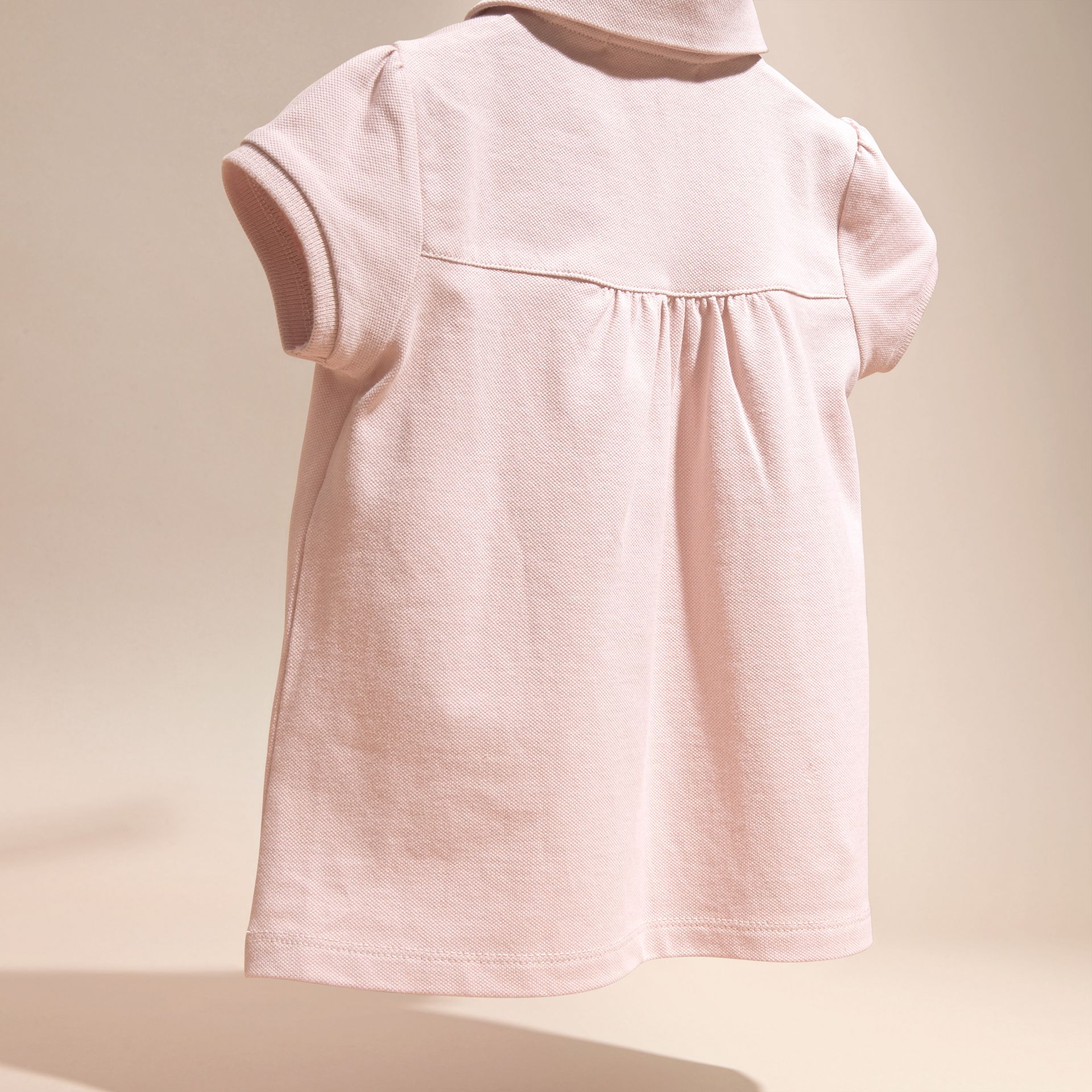 Chalk pink Ruched Detail Stretch Cotton Polo Shirt Chalk Pink - gallery image 4