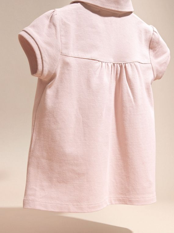 Chalk pink Ruched Detail Stretch Cotton Polo Shirt Chalk Pink - cell image 3