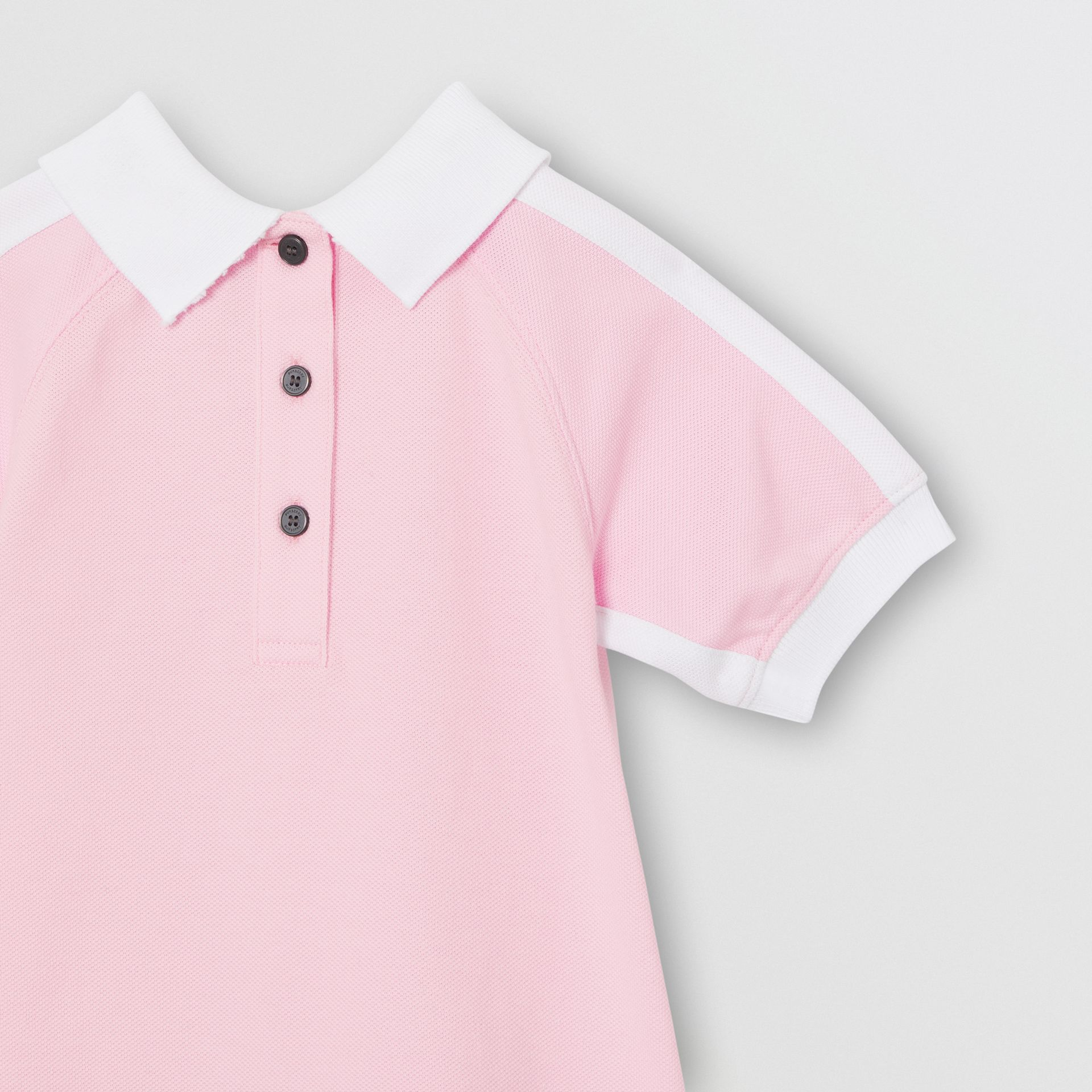 Embossed Logo Cotton Polo Dress in Pale Neon Pink - Children | Burberry - gallery image 4