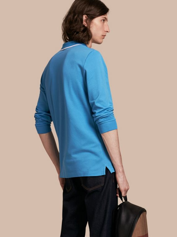 Long-sleeved Tipped Cotton Piqué Polo Shirt Chalk Blue - cell image 2