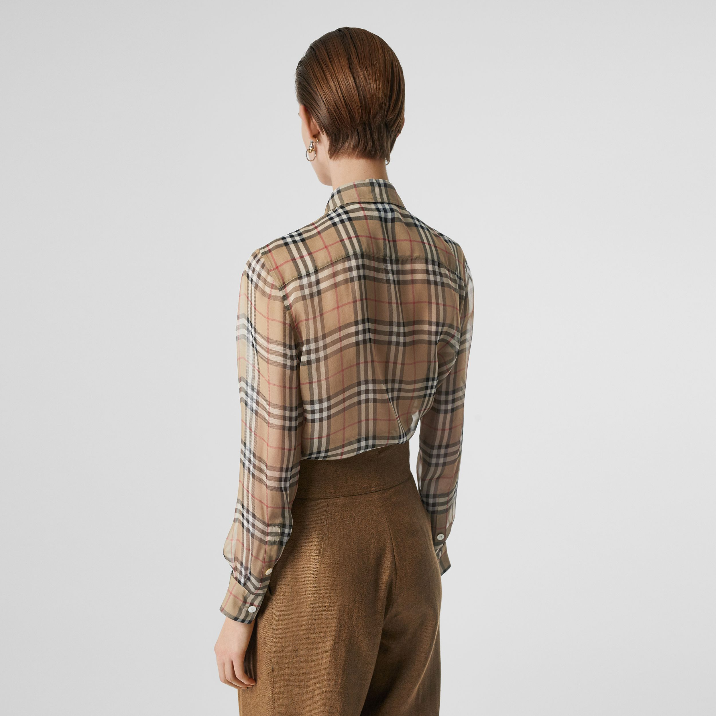 Vintage Check Silk Tie-neck Shirt in Archive Beige - Women | Burberry - 3