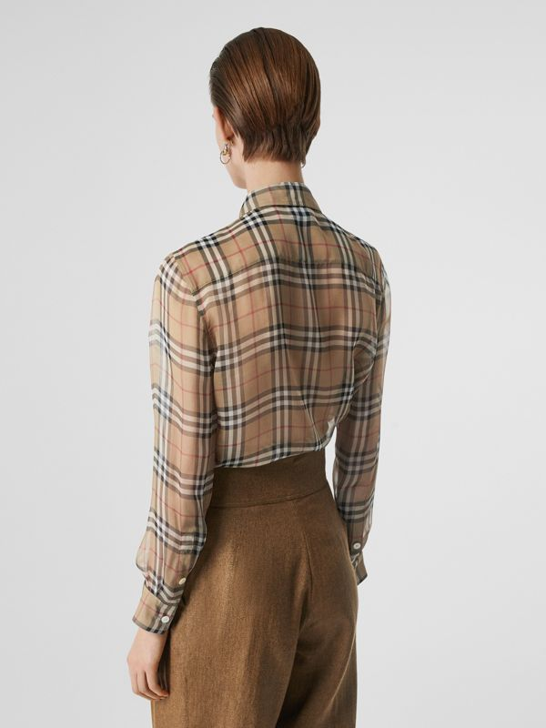 Vintage Check Silk Tie-neck Shirt in Archive Beige - Women | Burberry - cell image 2