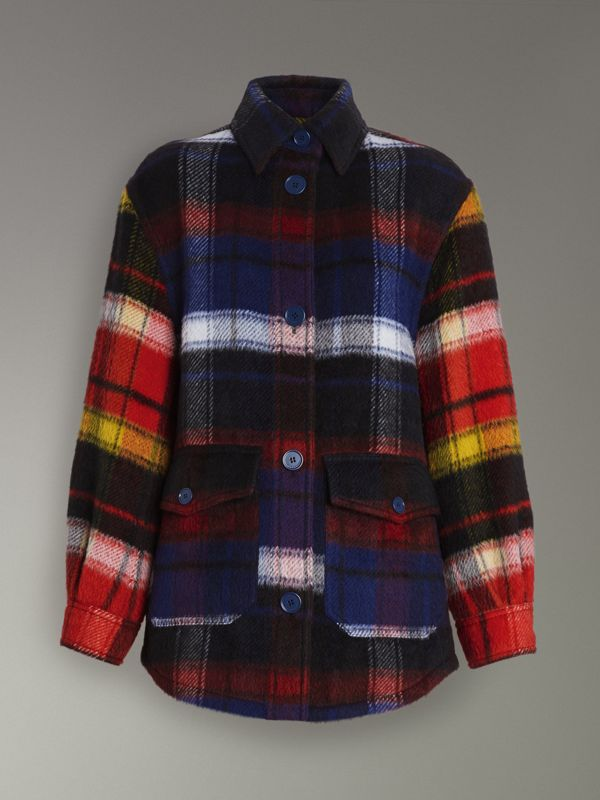 Check Alpaca Wool Jacket in Bright Navy - Women | Burberry Hong Kong - cell image 3