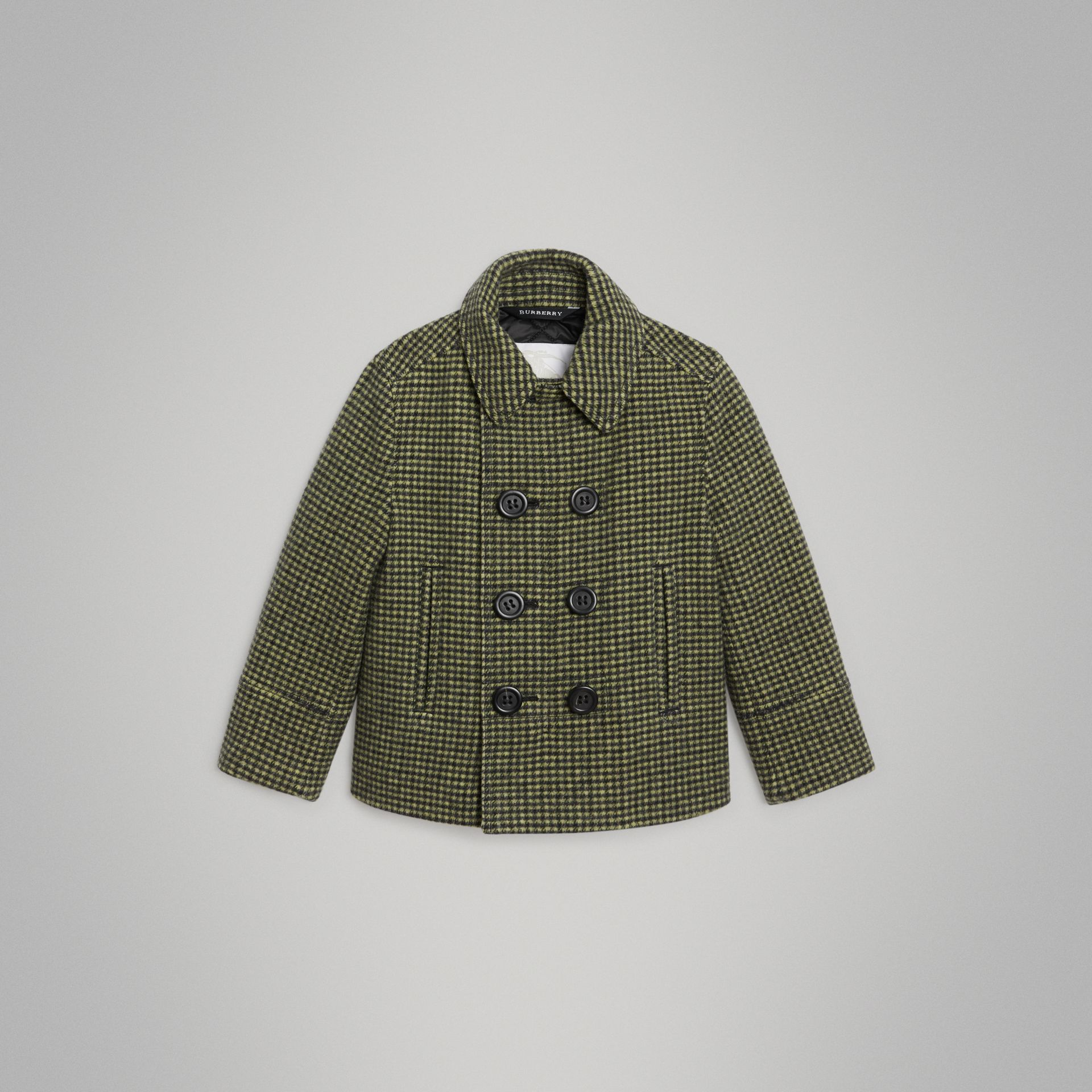 Check Wool Blend Tailored Coat in Grass Green | Burberry Hong Kong - gallery image 0