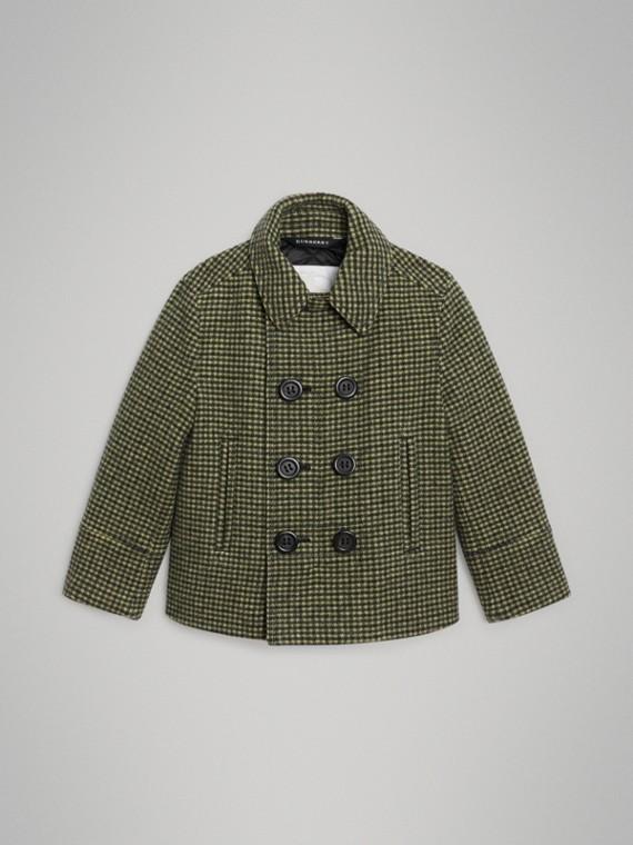 Abrigo de vestir en mezcla de lana a cuadros (Verde Hierba)