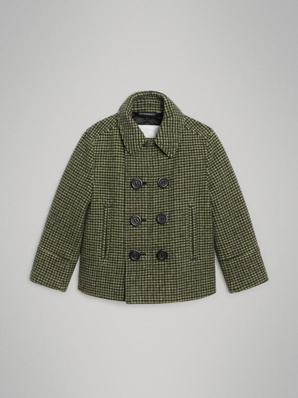 格紋羊毛混紡套量裁製大衣 (草綠色)