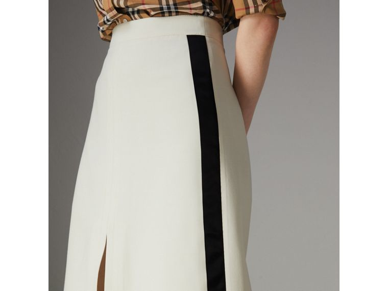 Sport Stripe Wool Silk A-line Skirt in Off White - Women | Burberry - cell image 1