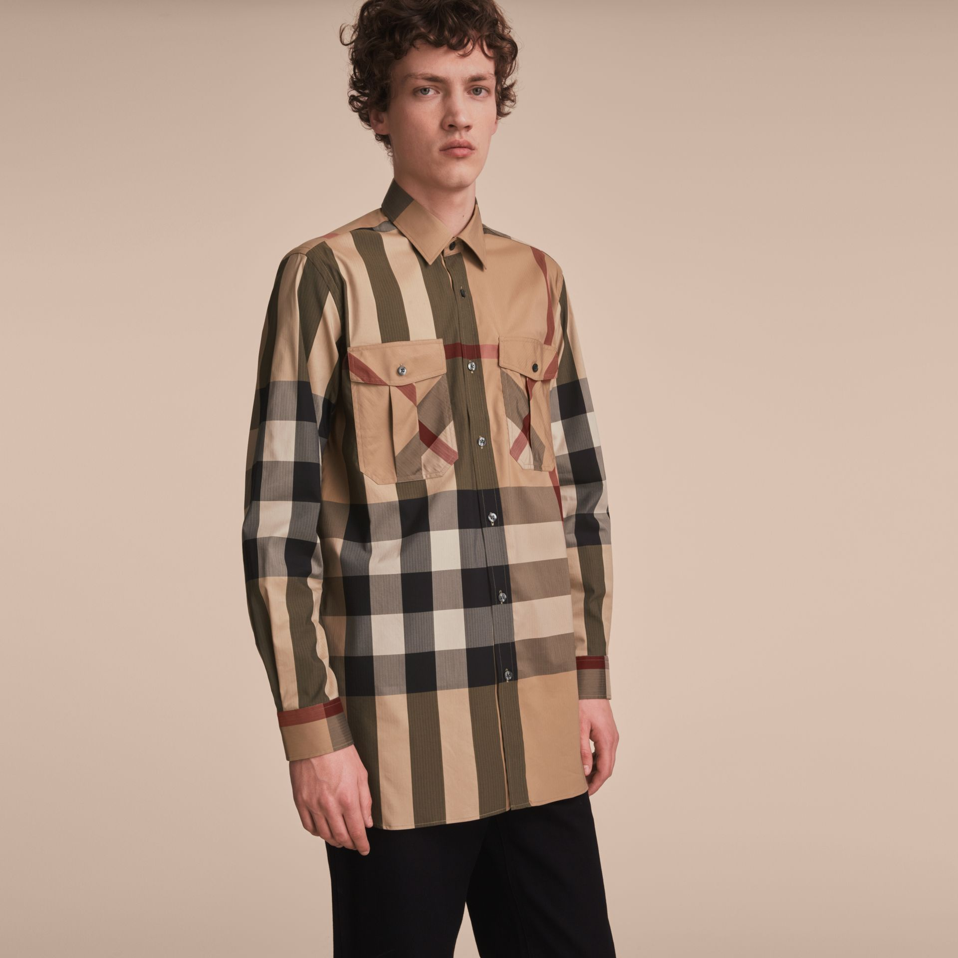 Check Cotton Blend Shirt with Military Detail in Camel - Men | Burberry Hong Kong - gallery image 6
