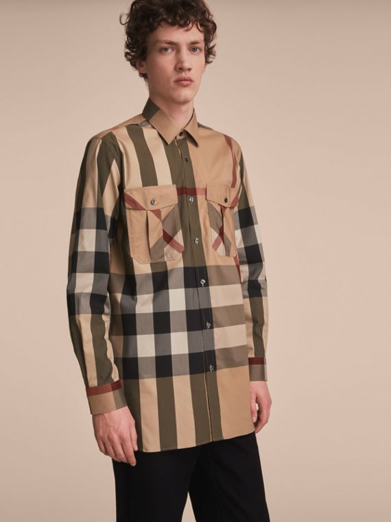 Check Cotton Blend Shirt with Military Detail - Men | Burberry Singapore
