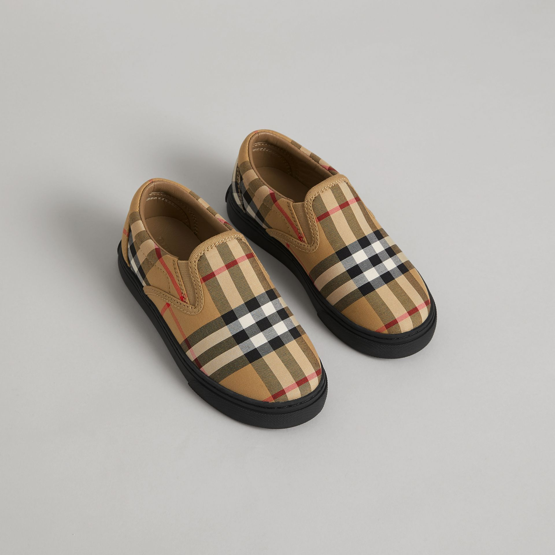 Vintage Check and Leather Slip-on Sneakers in Antique Yellow/black | Burberry - gallery image 0
