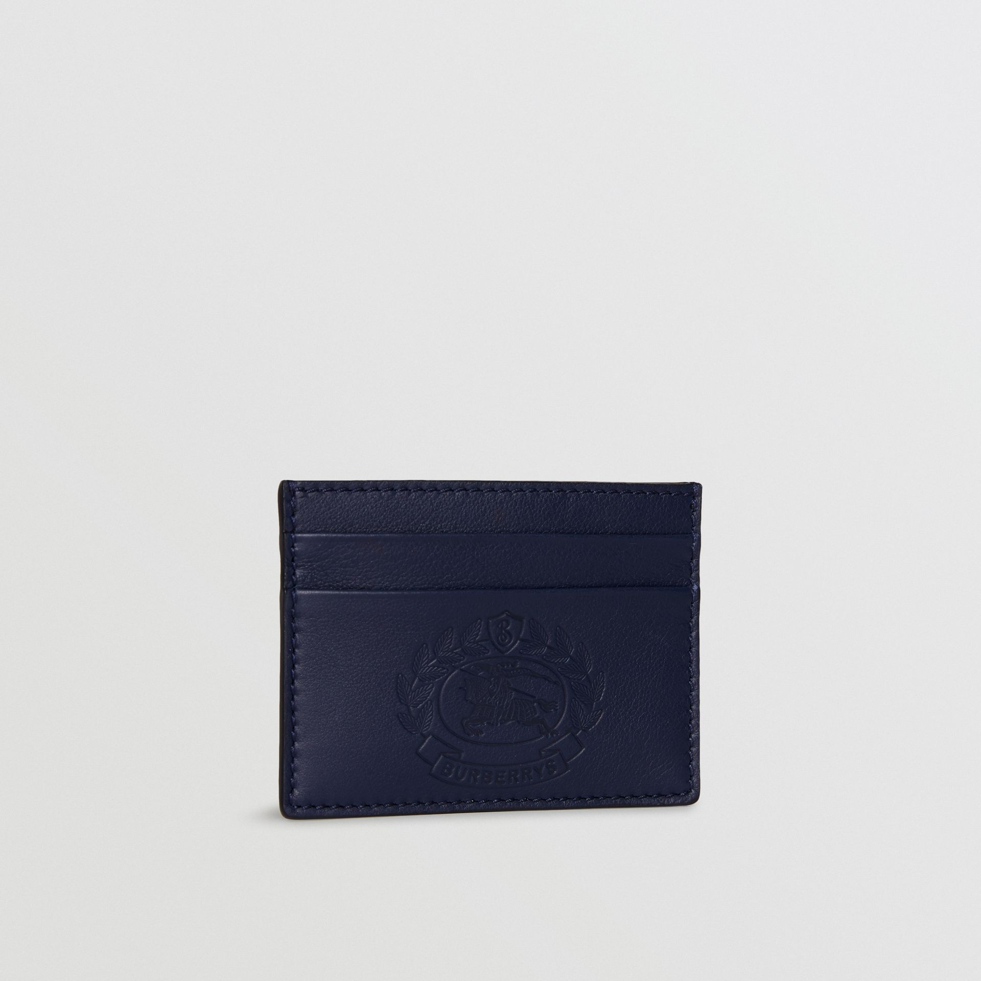 Embossed Crest Leather Card Case in Regency Blue | Burberry - gallery image 3