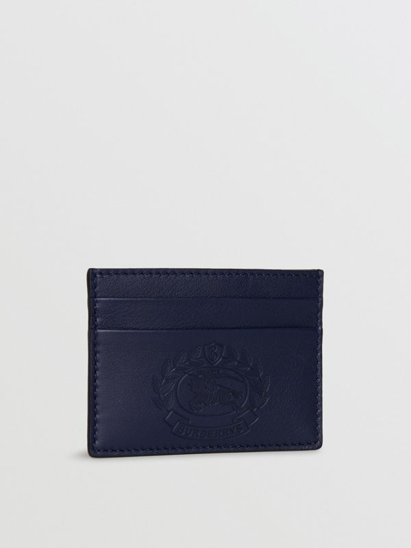 Embossed Crest Leather Card Case in Regency Blue | Burberry - cell image 3