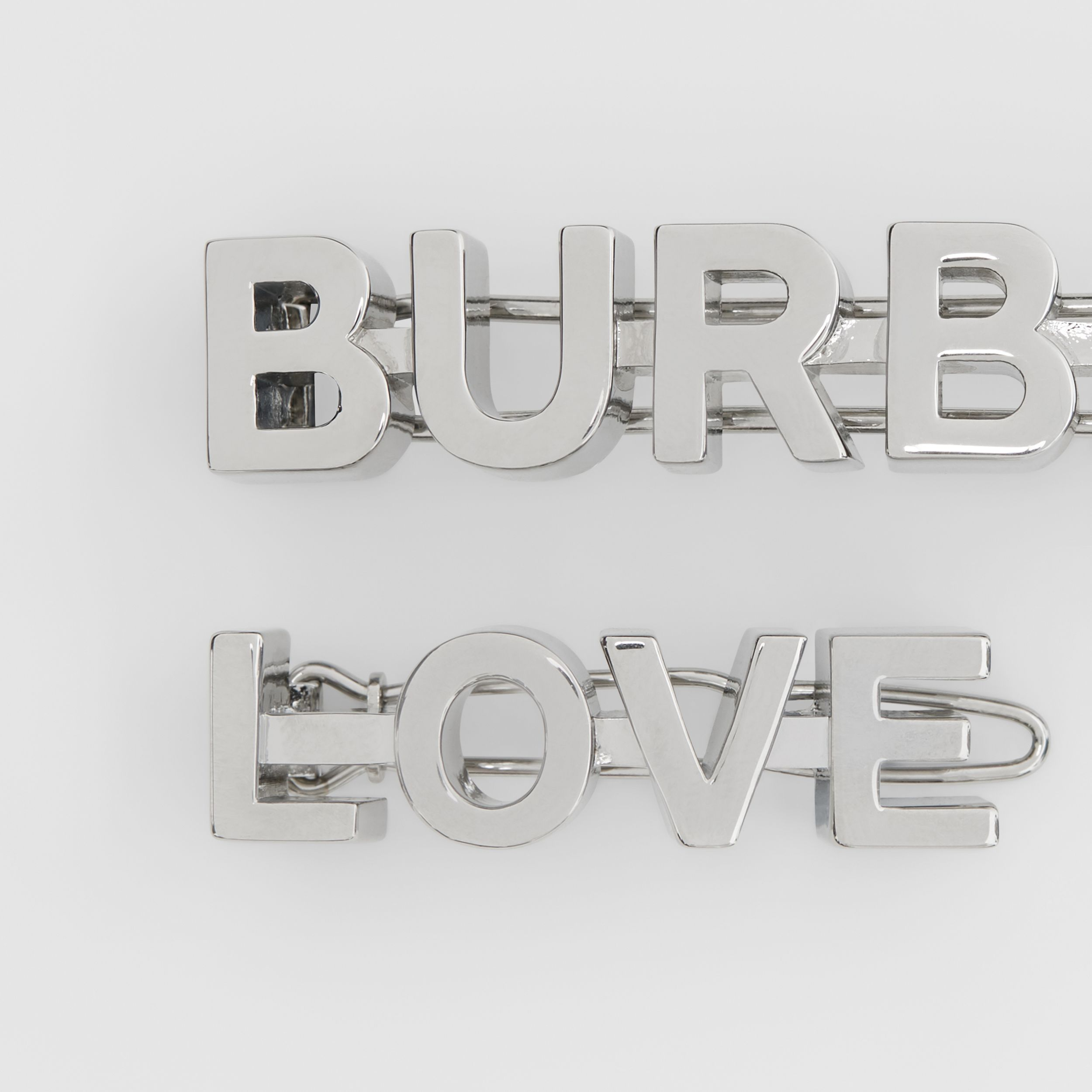 Palladium-plated Logo and Love Hair Clips - Women | Burberry Canada - 3