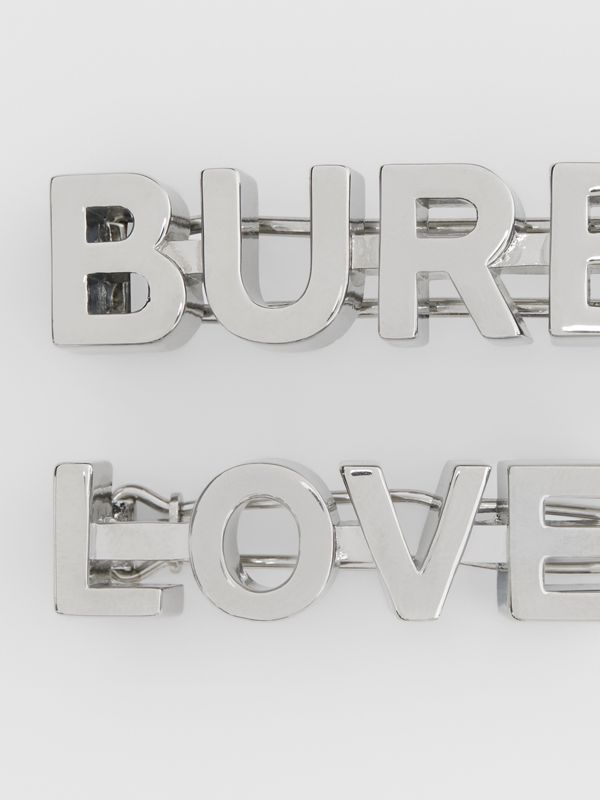 Palladium-plated Logo and Love Hair Clips - Women | Burberry United States - cell image 2