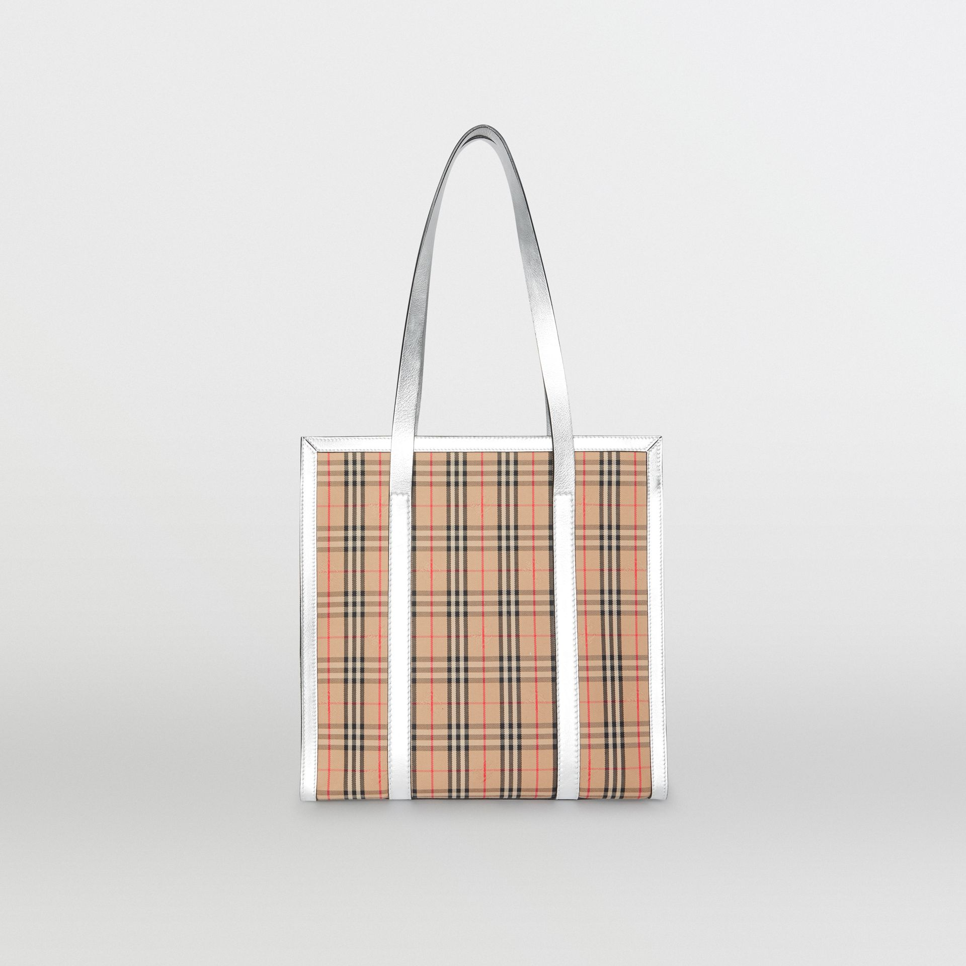 The Small 1983 Check Link Tote Bag in Silver - Women | Burberry United States - gallery image 7
