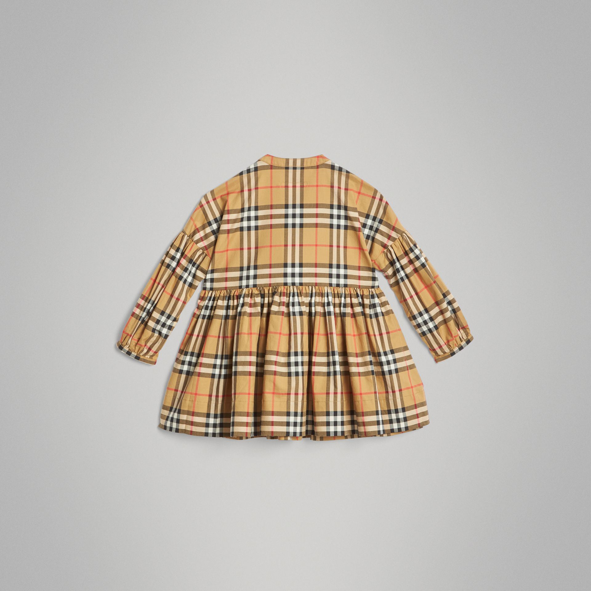 Gathered Sleeve Vintage Check Cotton Dress in Antique Yellow | Burberry United Kingdom - gallery image 3