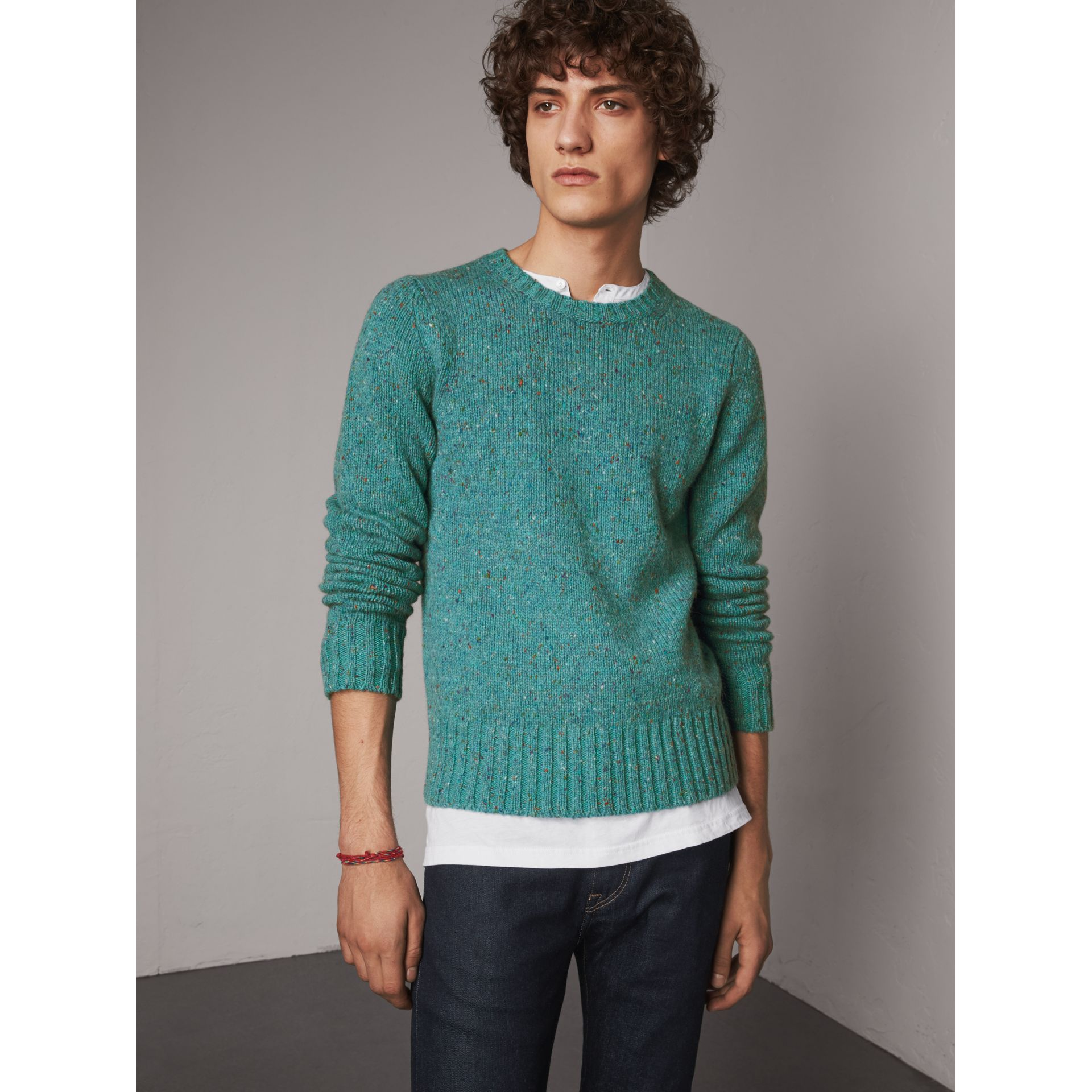 Wool Cashmere Mohair Tweed Sweater in Bright Cyan Green - Men | Burberry - gallery image 1