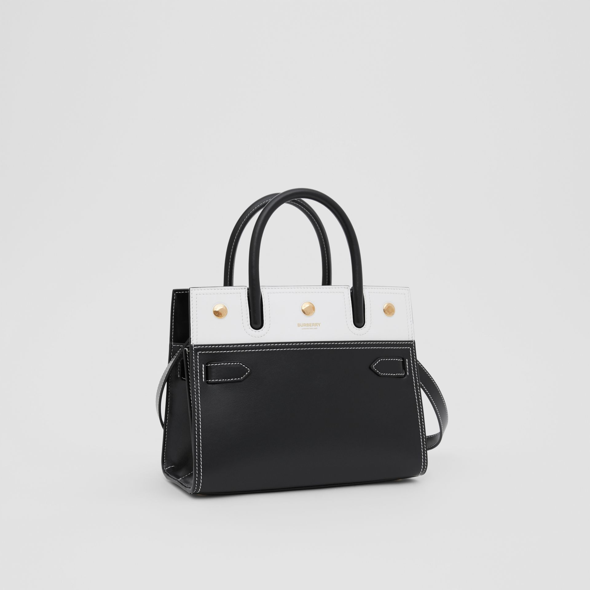 Mini Leather Two-handle Title Bag in Black/white - Women | Burberry - gallery image 4