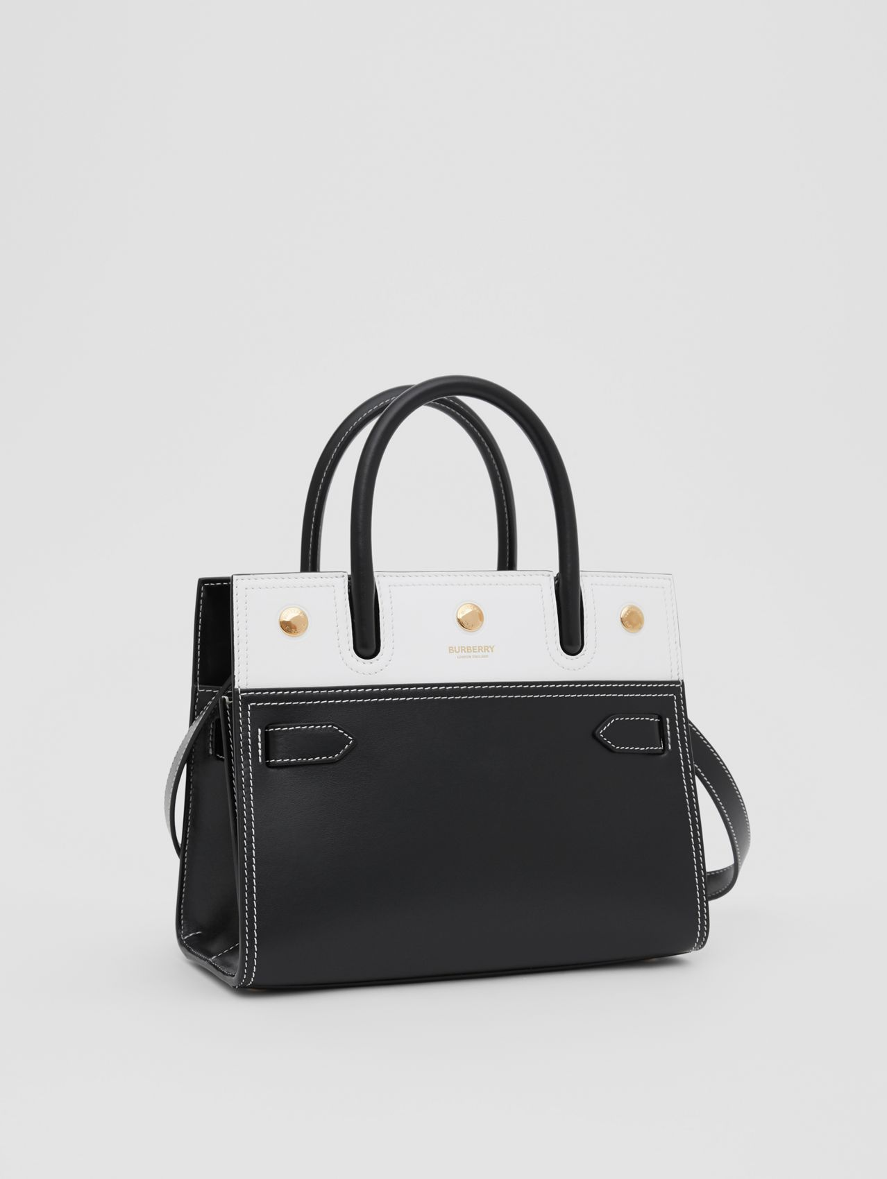 Mini Leather Two-handle Title Bag (Black/white)