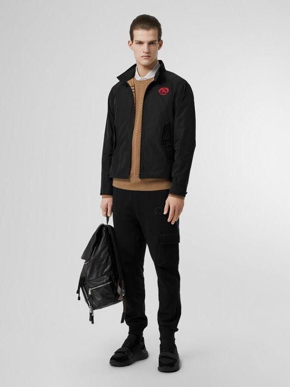 Crest Detail Shape-memory Taffeta Harrington Jacket in Black