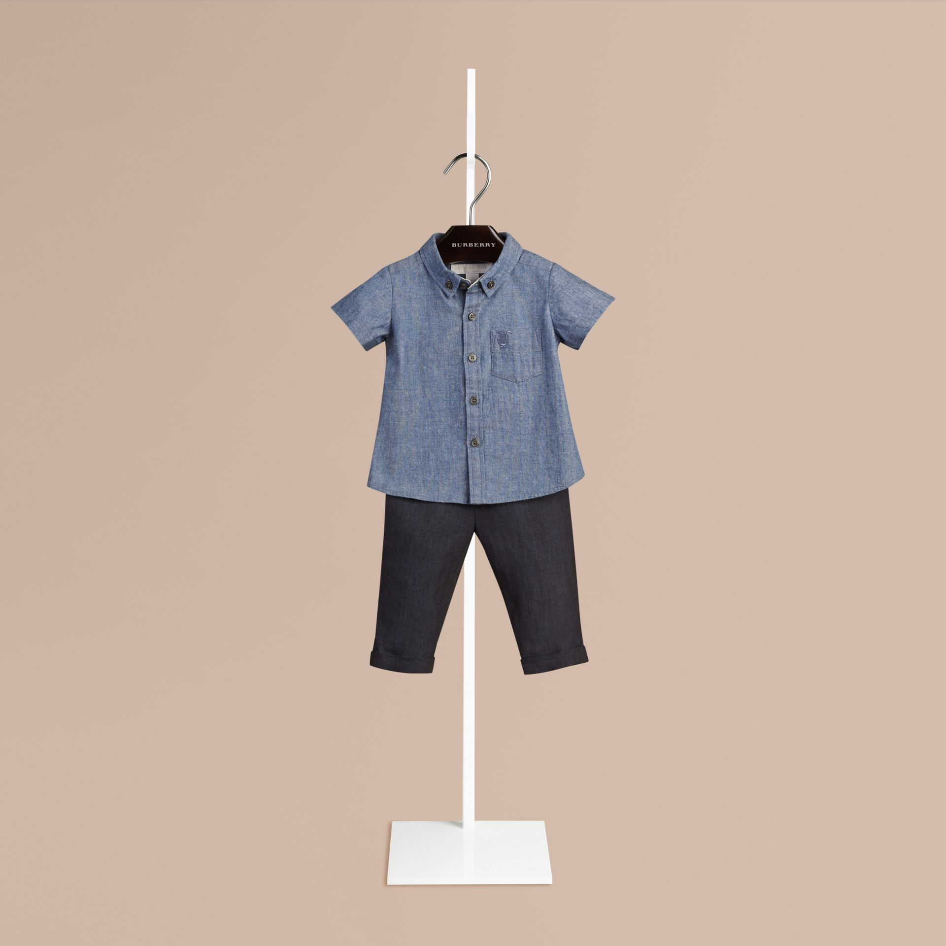 Blu pietra Camicia Oxford a maniche corte in cotone con dettaglio check - immagine della galleria 1