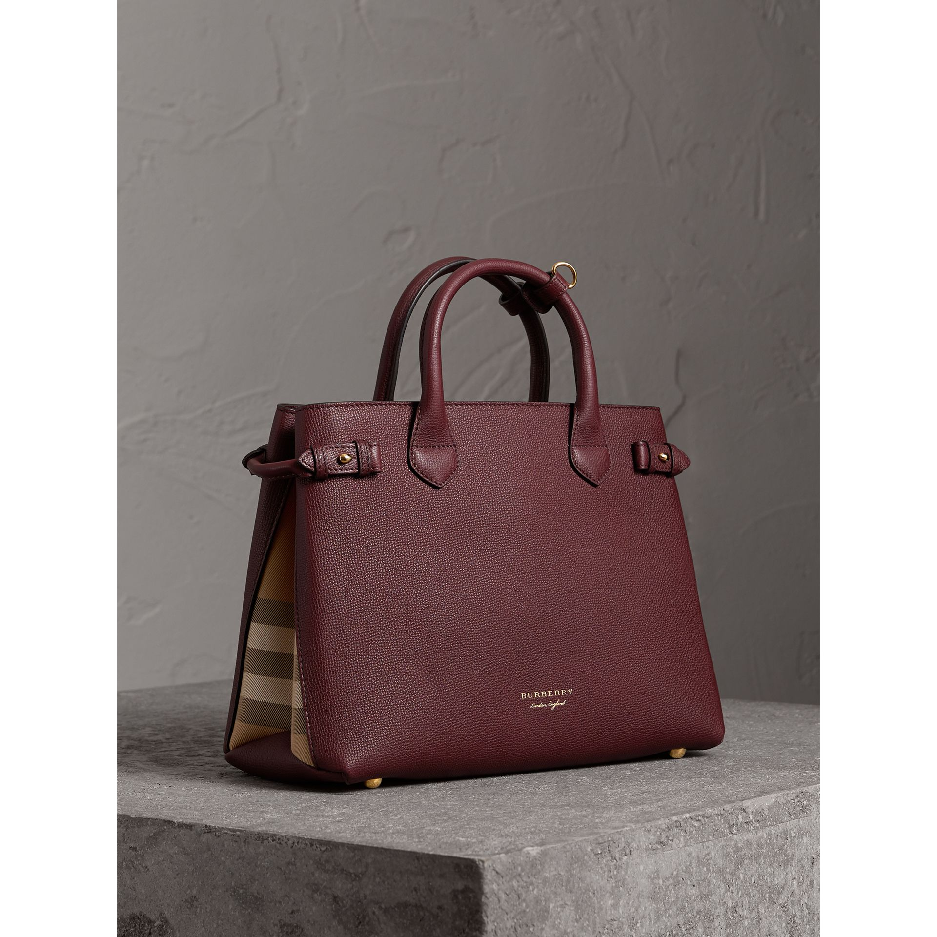 The Medium Banner in Leather and House Check in Mahogany Red - Women | Burberry United States - gallery image 1