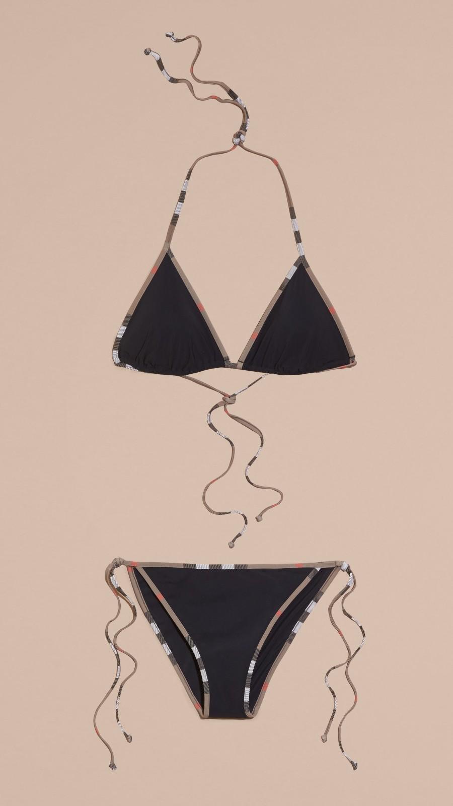 Black Check Trim Triangle Bikini Black - Image 4