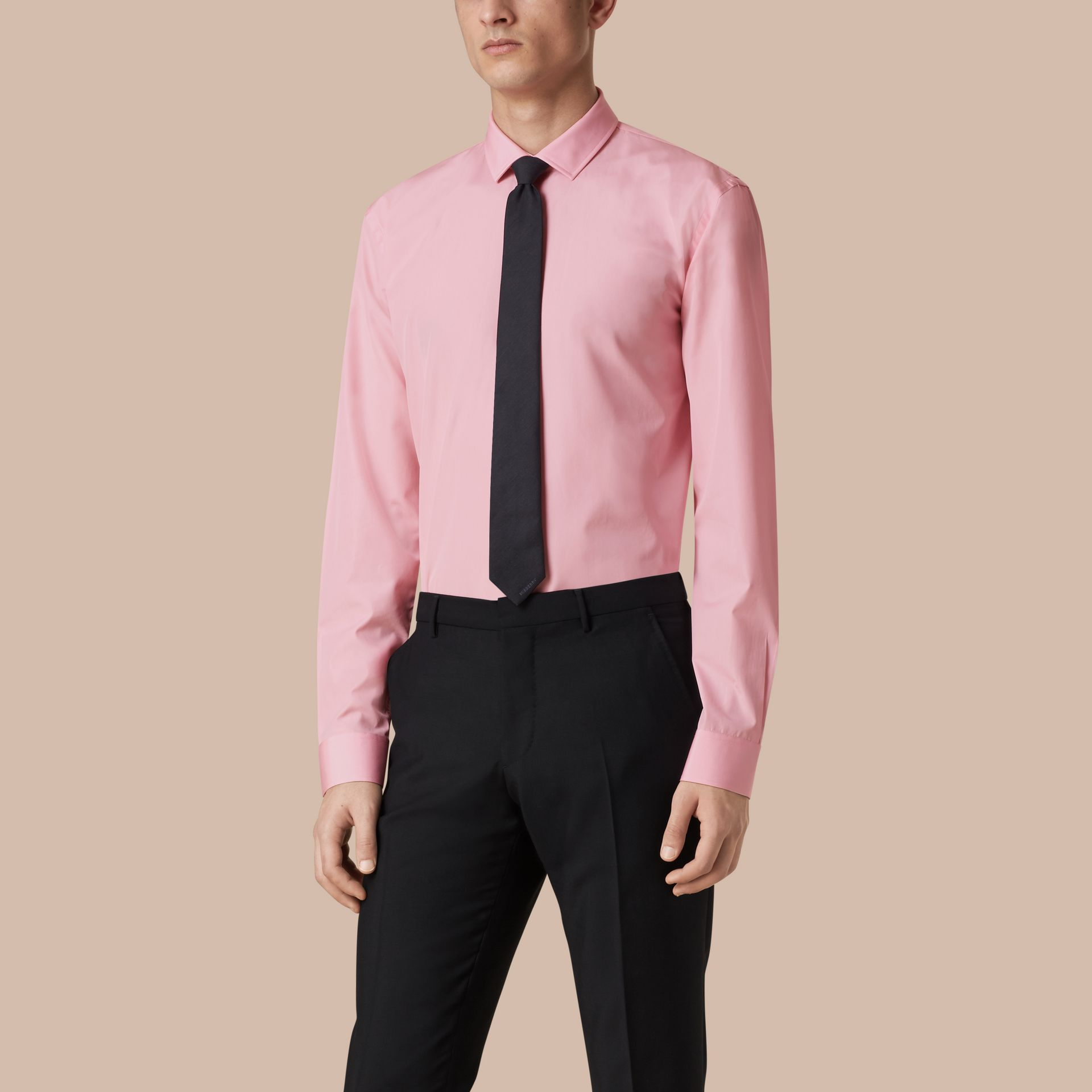 Modern Fit Cotton Poplin Shirt City Pink - gallery image 1