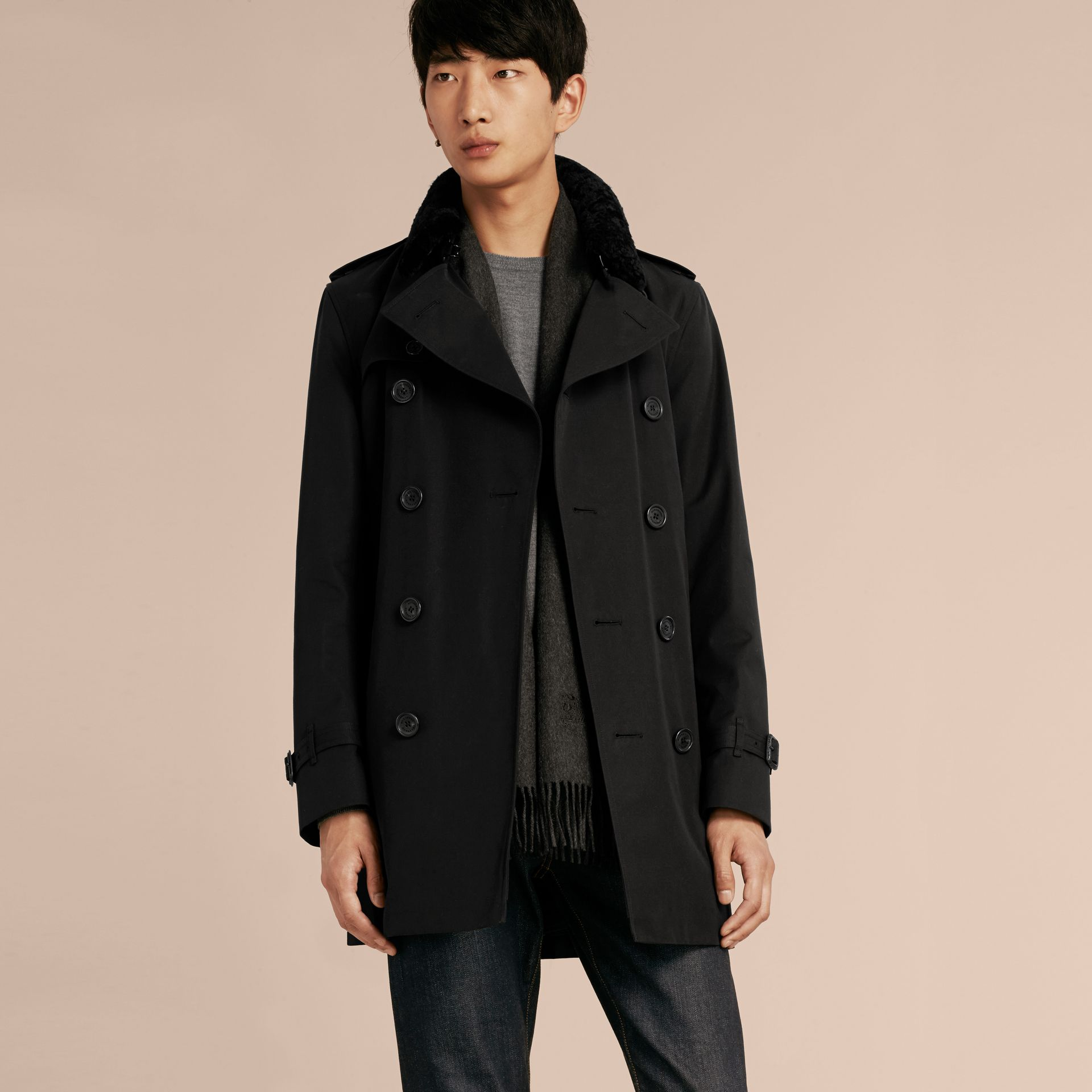 Black Detachable Shearling Topcollar Cotton Gabardine Trench Coat with Warmer Black - gallery image 7