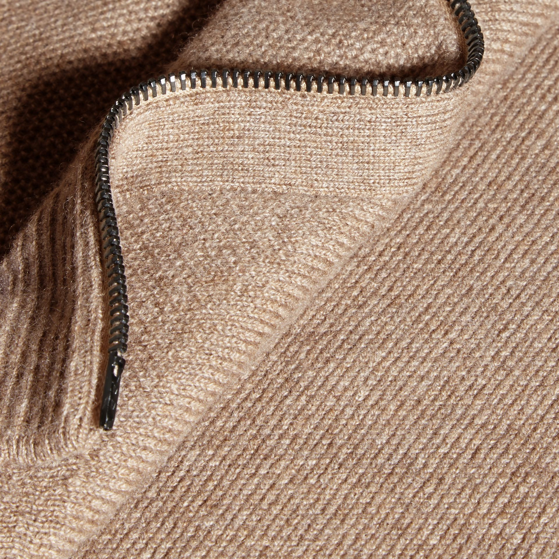 Stone Zip Front Wool Cashmere Cardigan Stone - gallery image 2