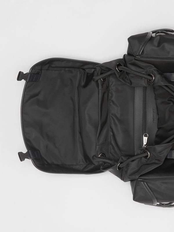 Logo Detail Nylon and Leather Backpack in Black - Men | Burberry Australia - cell image 3
