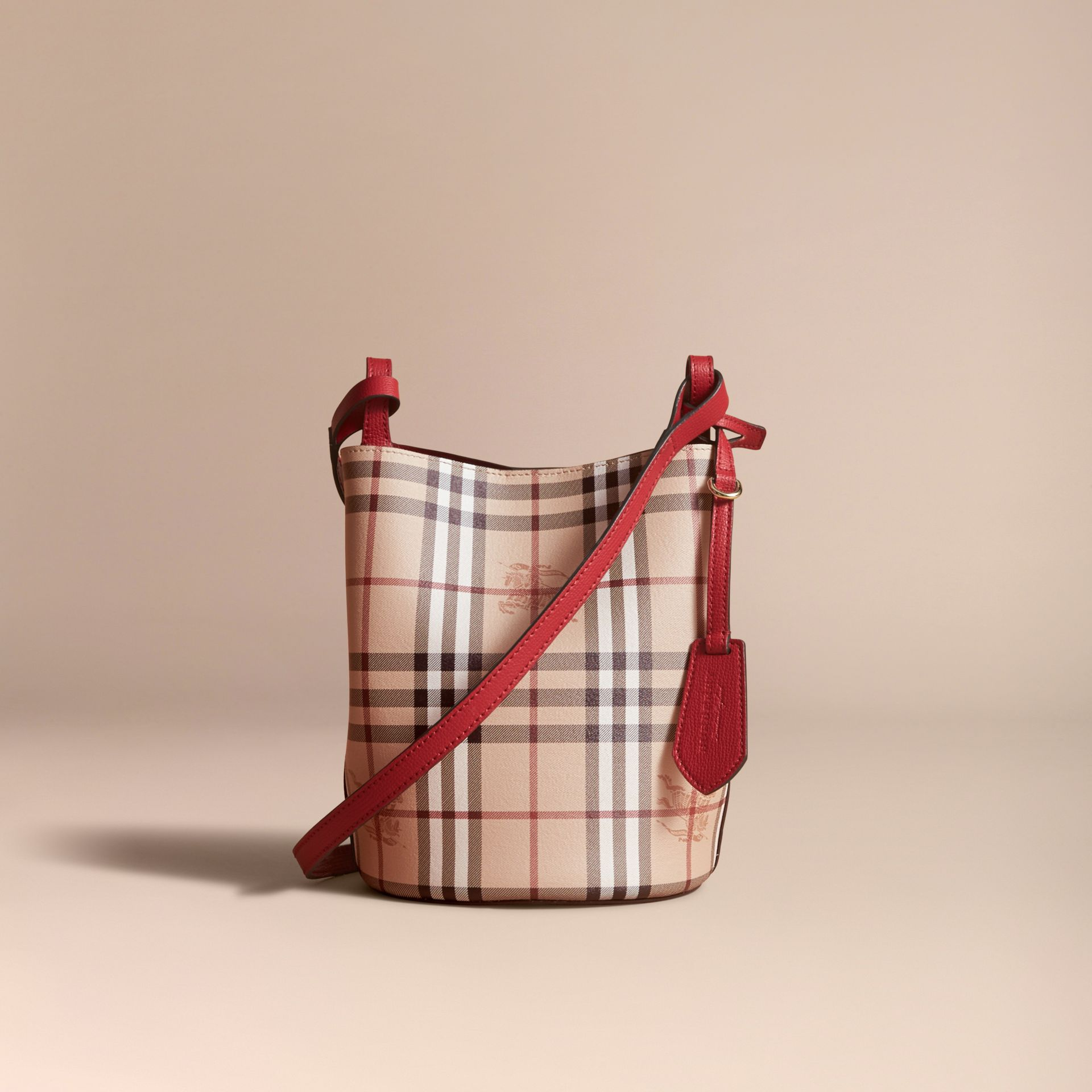Leather and Haymarket Check Crossbody Bucket Bag in Poppy Red - Women | Burberry - gallery image 7
