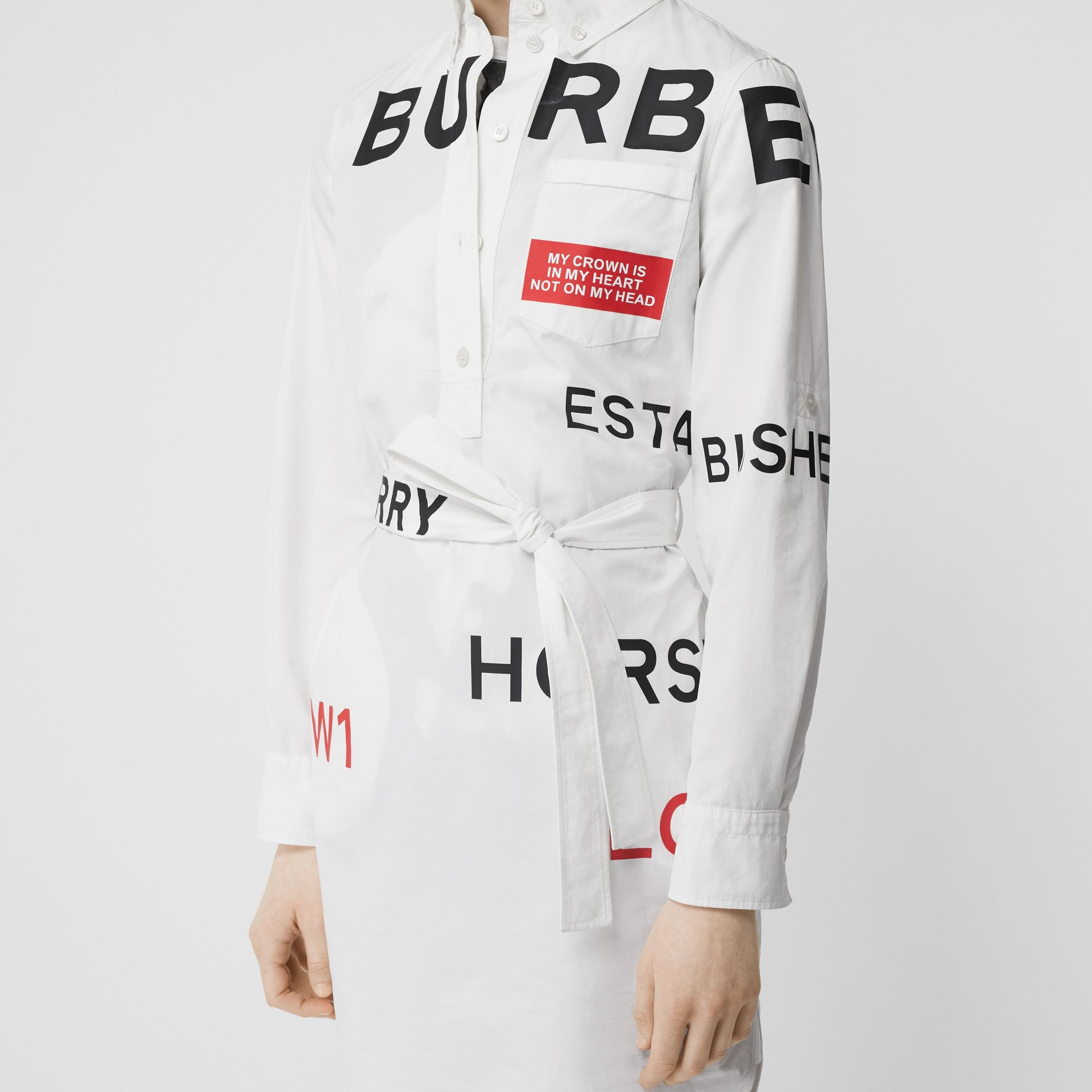 Horseferry Print Cotton Tie-waist Shirt Dress in White | Burberry Hong Kong S.A.R - gallery image 1