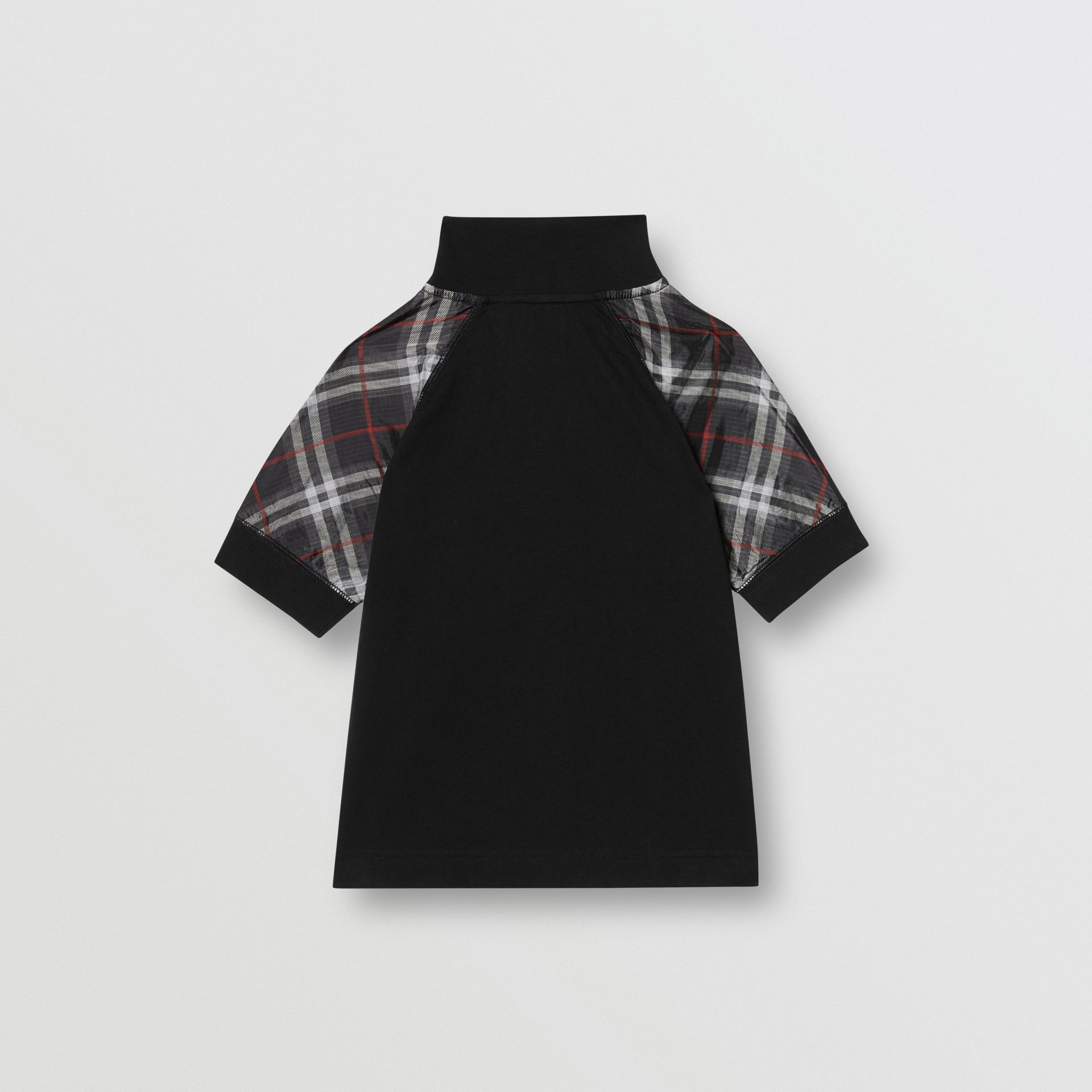 Vintage Check Detail Cotton Zip-front Polo Shirt in Black - Boy | Burberry - gallery image 3