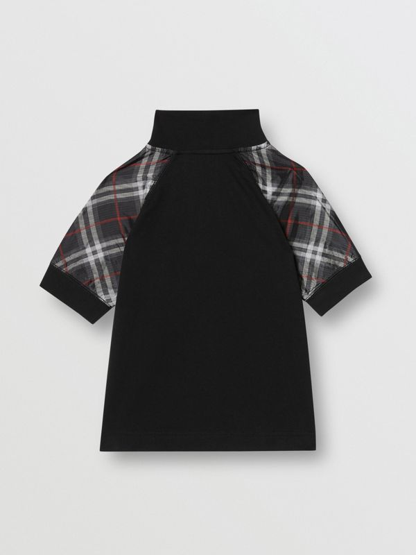 Vintage Check Detail Cotton Zip-front Polo Shirt in Black - Boy | Burberry - cell image 3