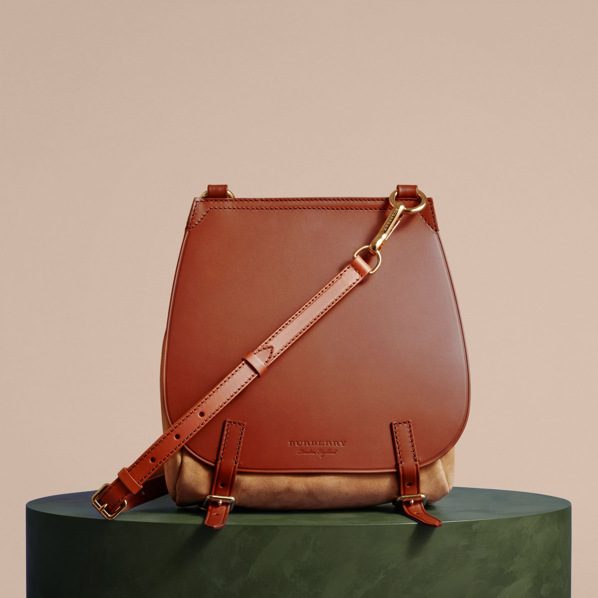 The Small Bridle Bag in Leather and Suede in Tan - Men | Burberry - gallery image 8