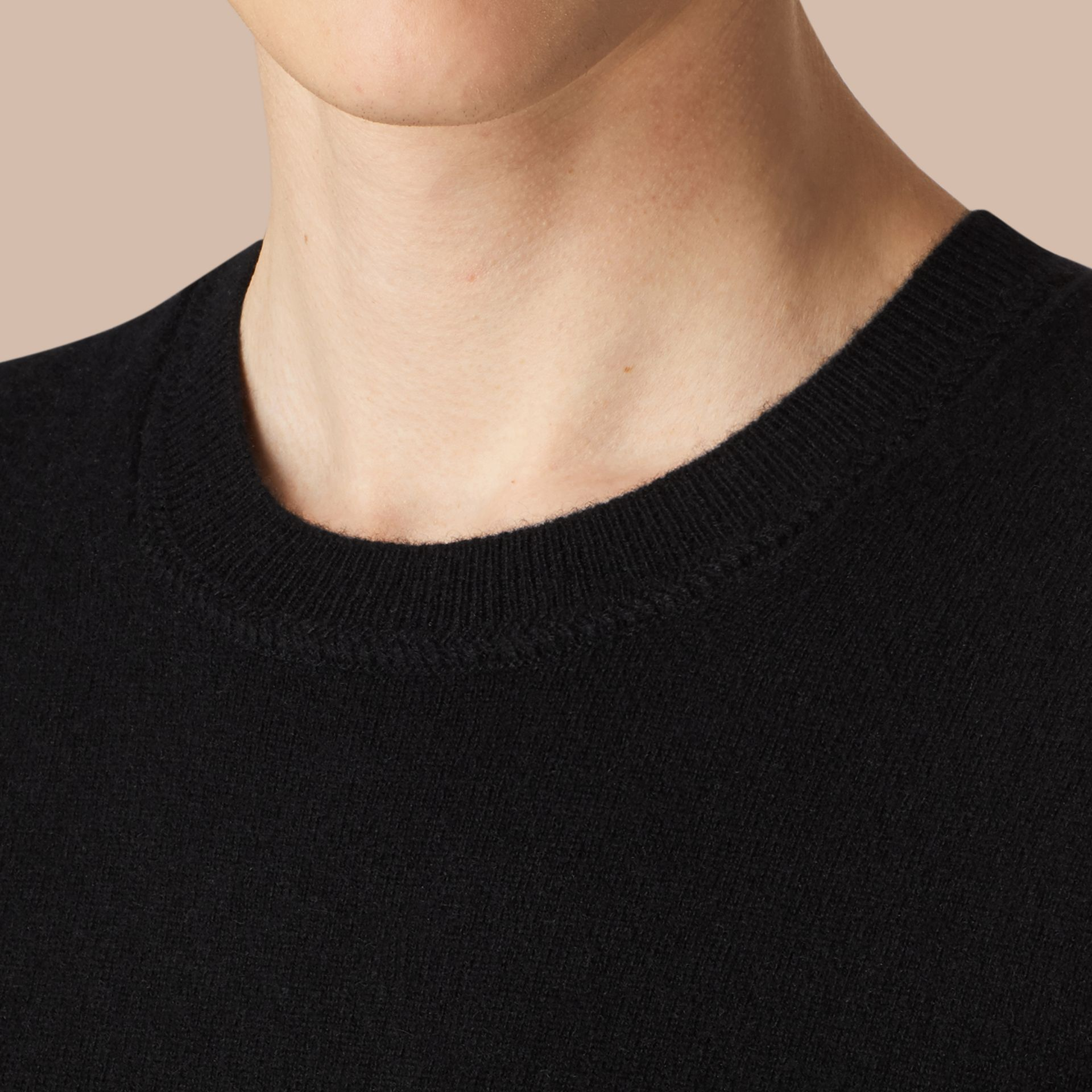 Crew Neck Cashmere Sweater in Black - gallery image 2