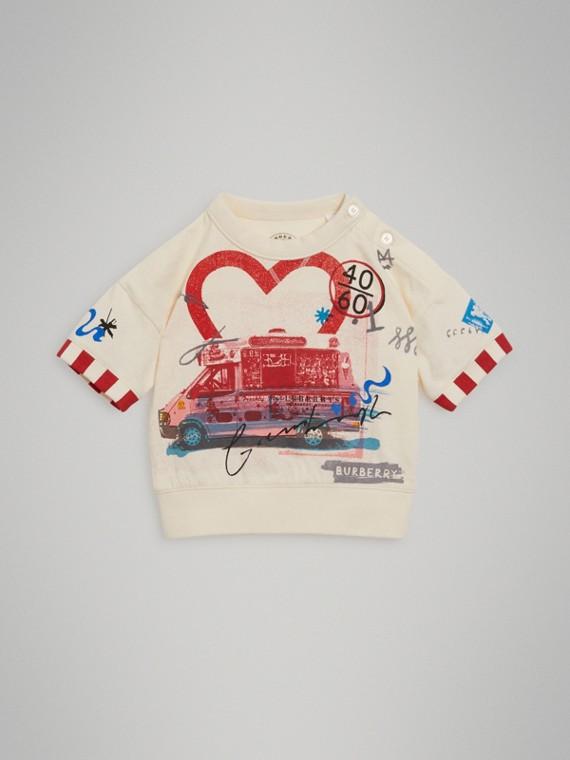 Camiseta de algodão com motivo de cartão postal (Branco Giz)