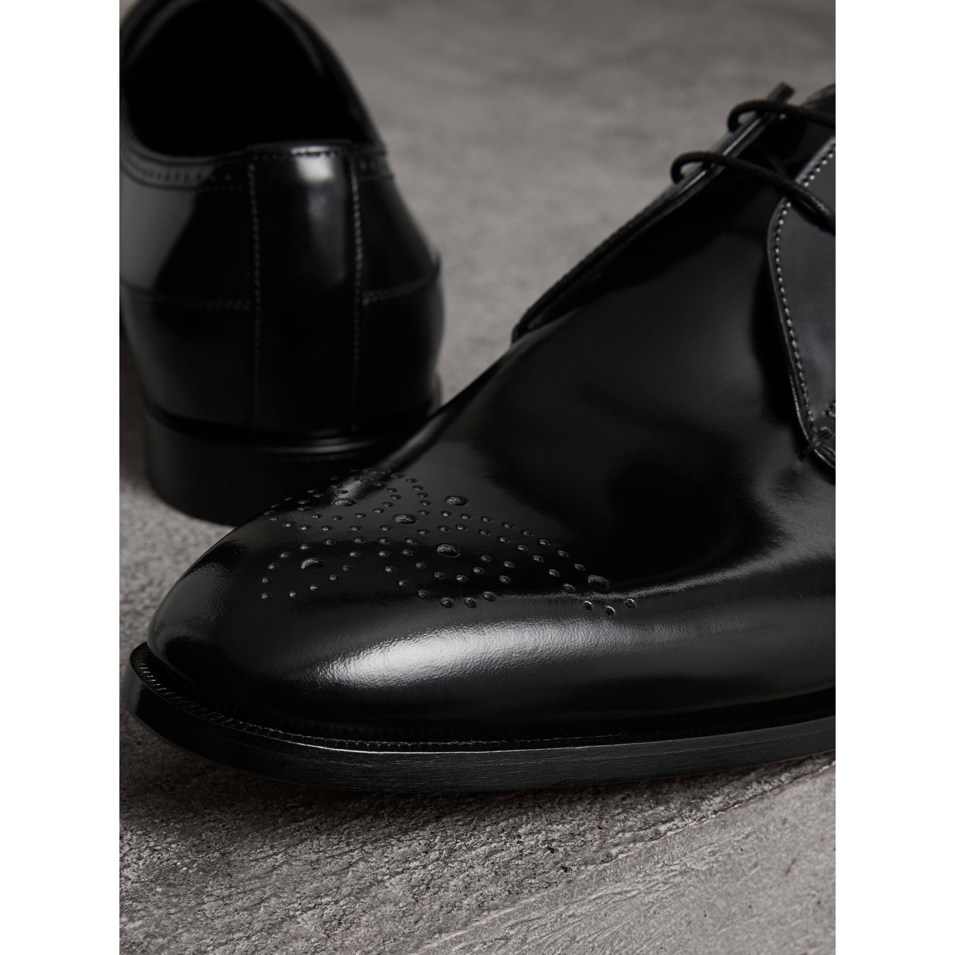 Perforated Detail Leather Derby Shoes in Black - Men | Burberry - gallery image 2