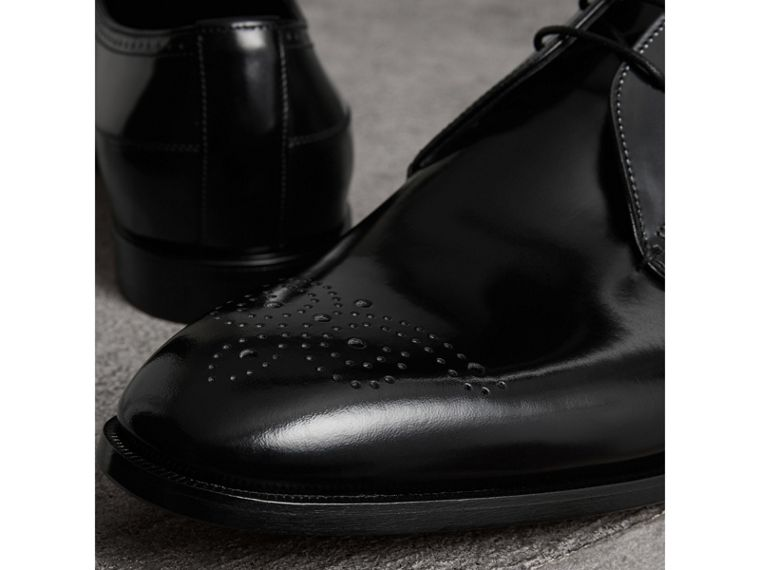 Perforated Detail Leather Derby Shoes in Black - Men | Burberry United Kingdom - cell image 1