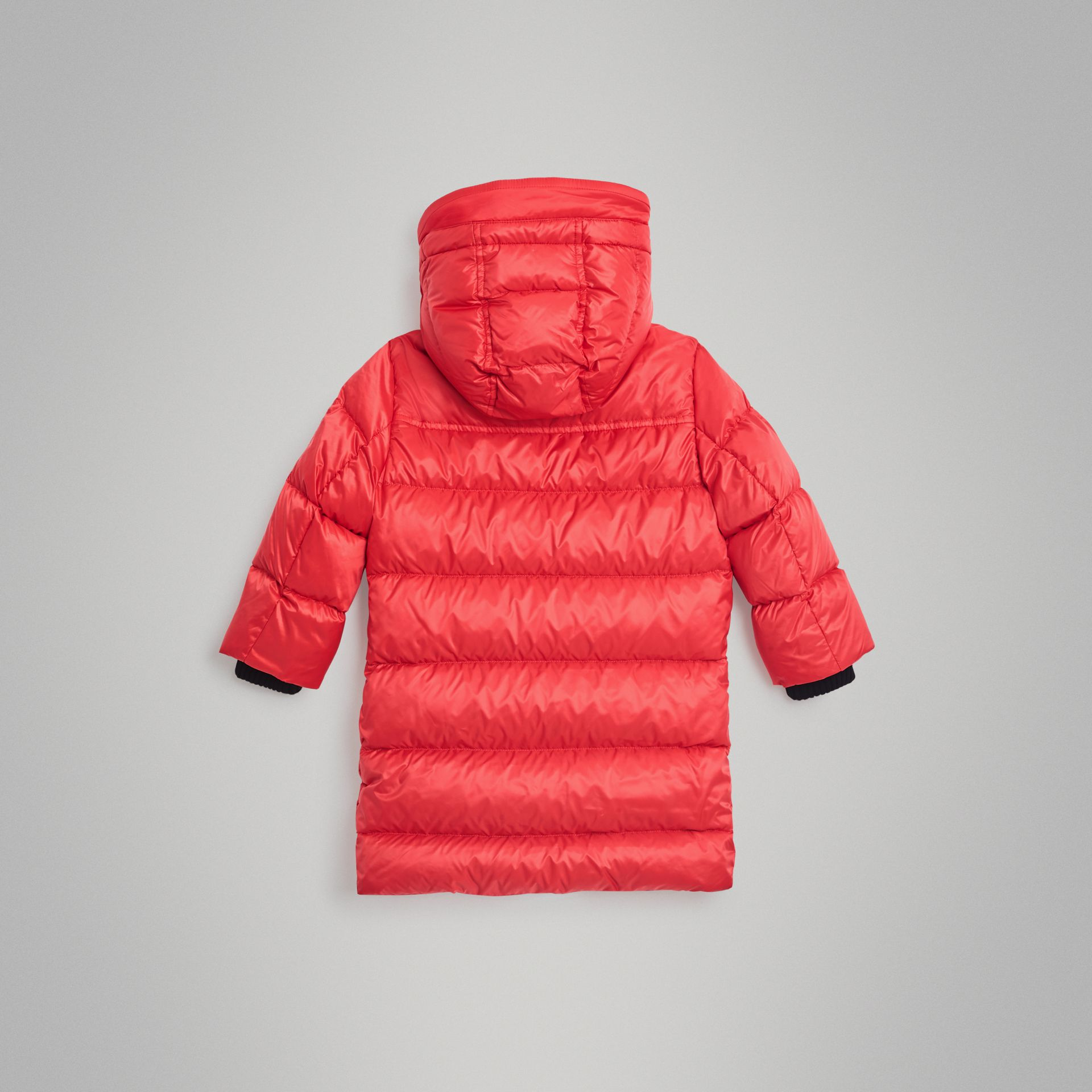 Detachable Hood Down-filled Puffer Coat in Bright Orange Red | Burberry - gallery image 3