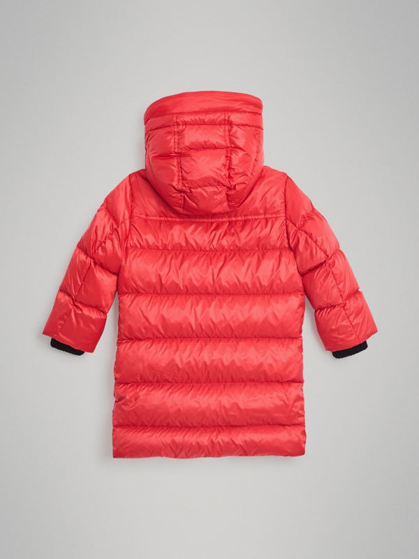 Detachable Hood Down-filled Puffer Coat in Bright Orange Red | Burberry Australia - cell image 3