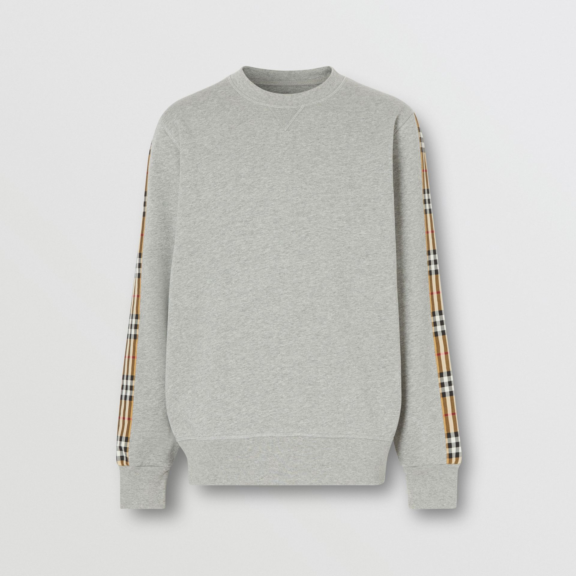 Vintage Check Panel Jersey Sweatshirt in Pale Grey Melange - Men | Burberry Singapore - gallery image 3