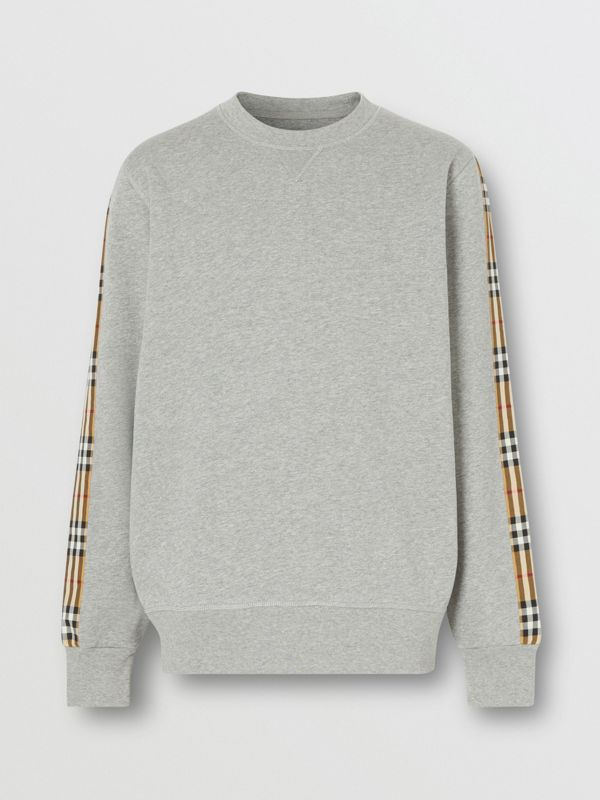 Vintage Check Panel Jersey Sweatshirt in Pale Grey Melange - Men | Burberry Singapore - cell image 3