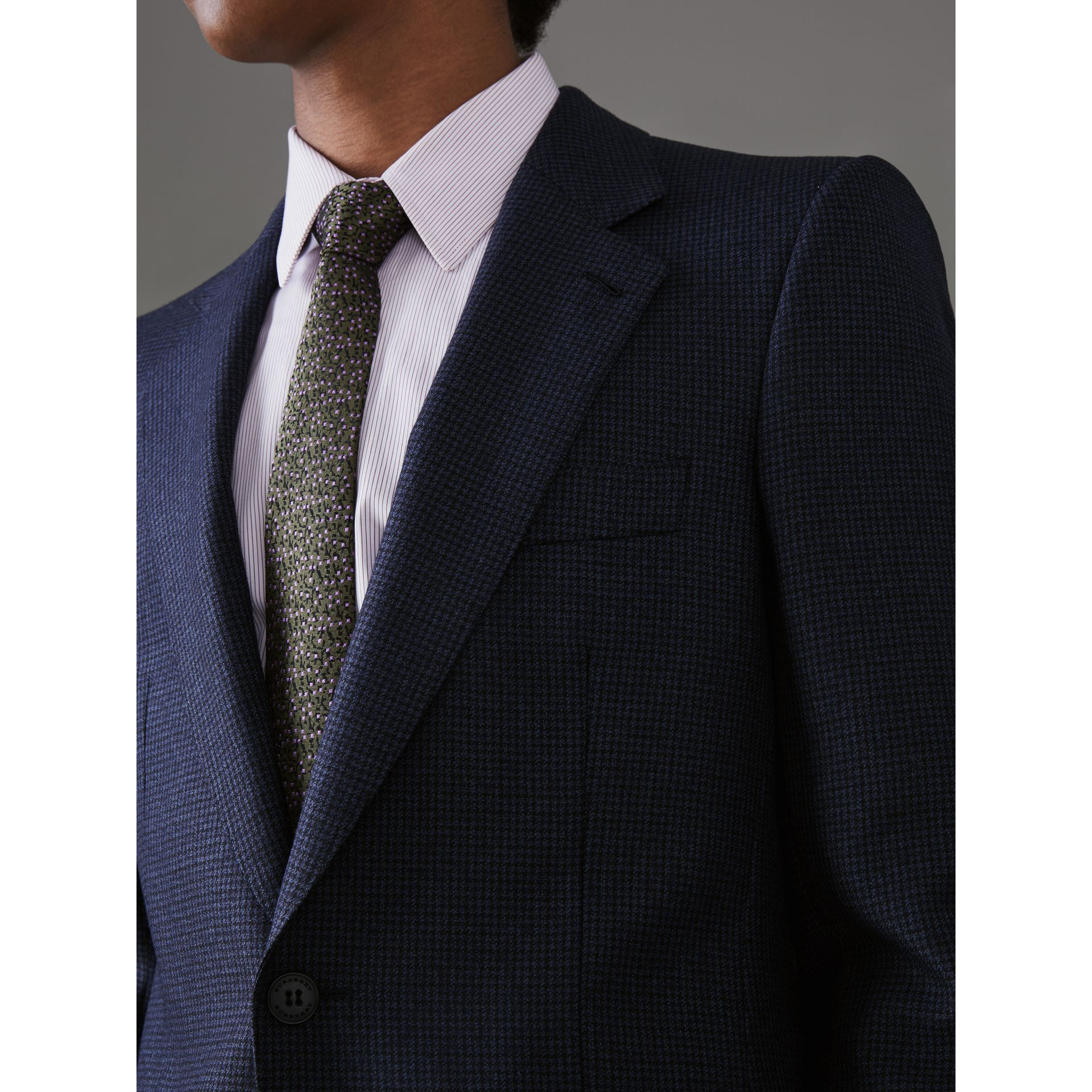 Slim Fit Puppytooth Wool Suit in Navy - Men | Burberry - gallery image 1